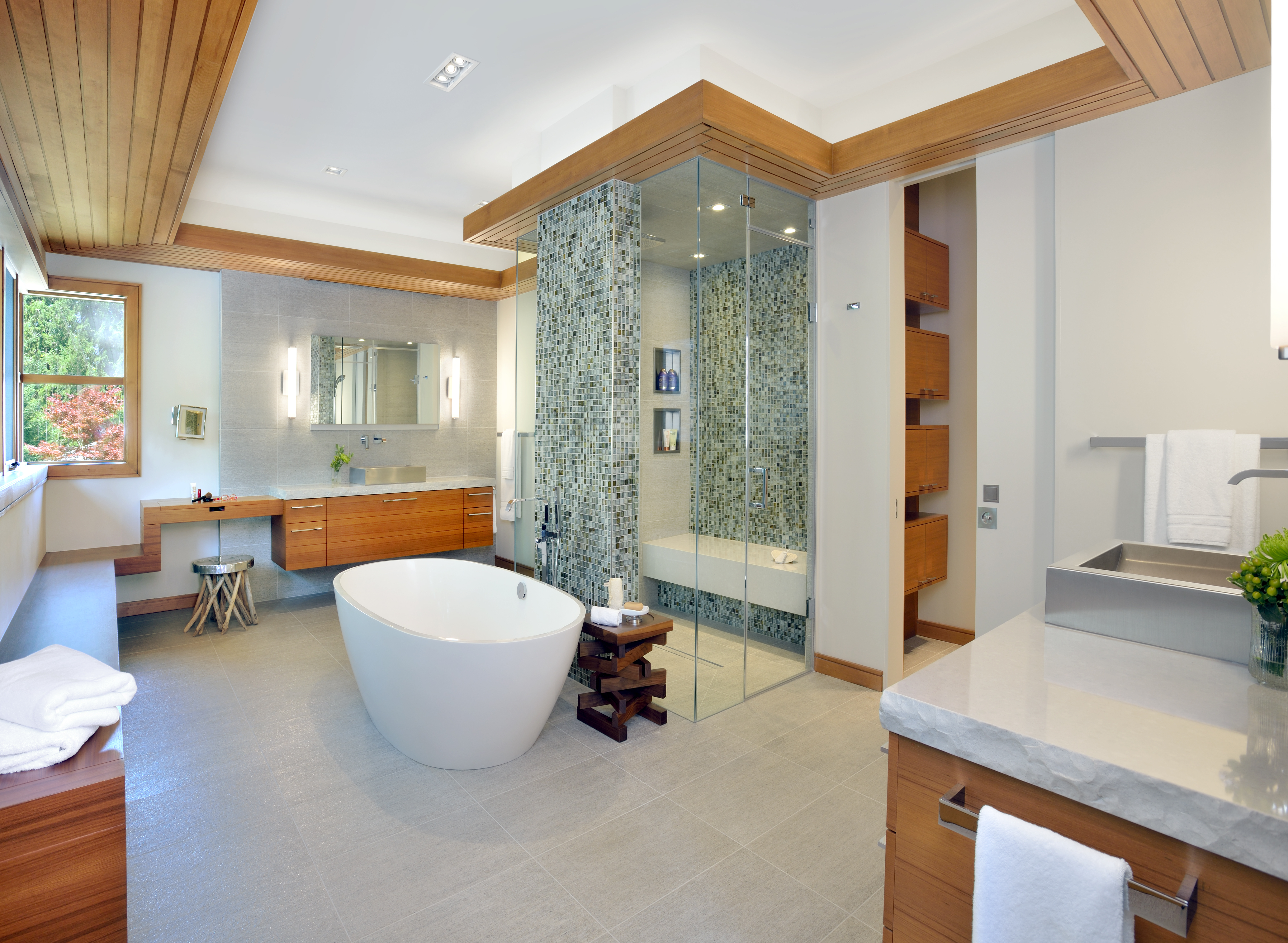 Contemporary Bathroom Remodel With Wooden Panel Accent (Image 1 of 7)