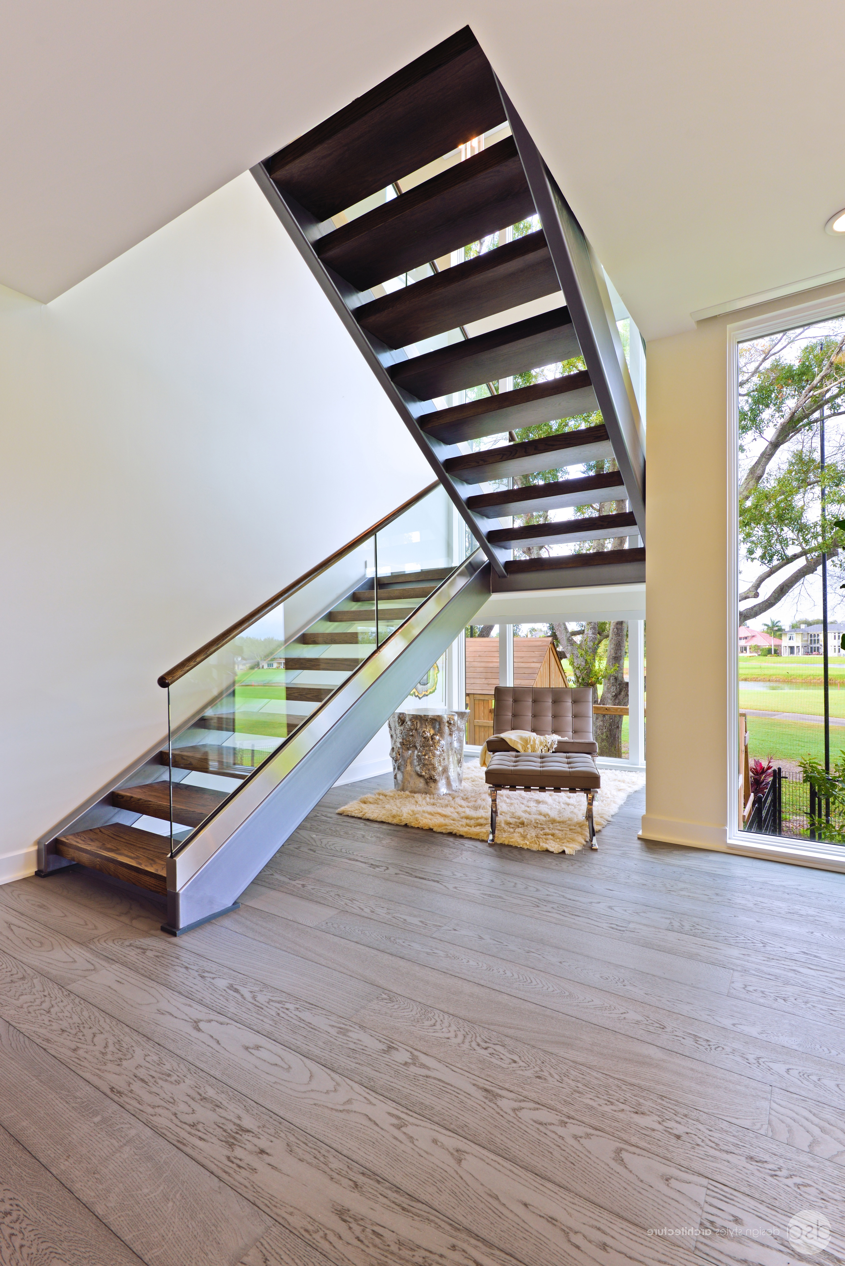 Contemporary Floating Loft Stairs With Glass Railing (Image 1 of 10)