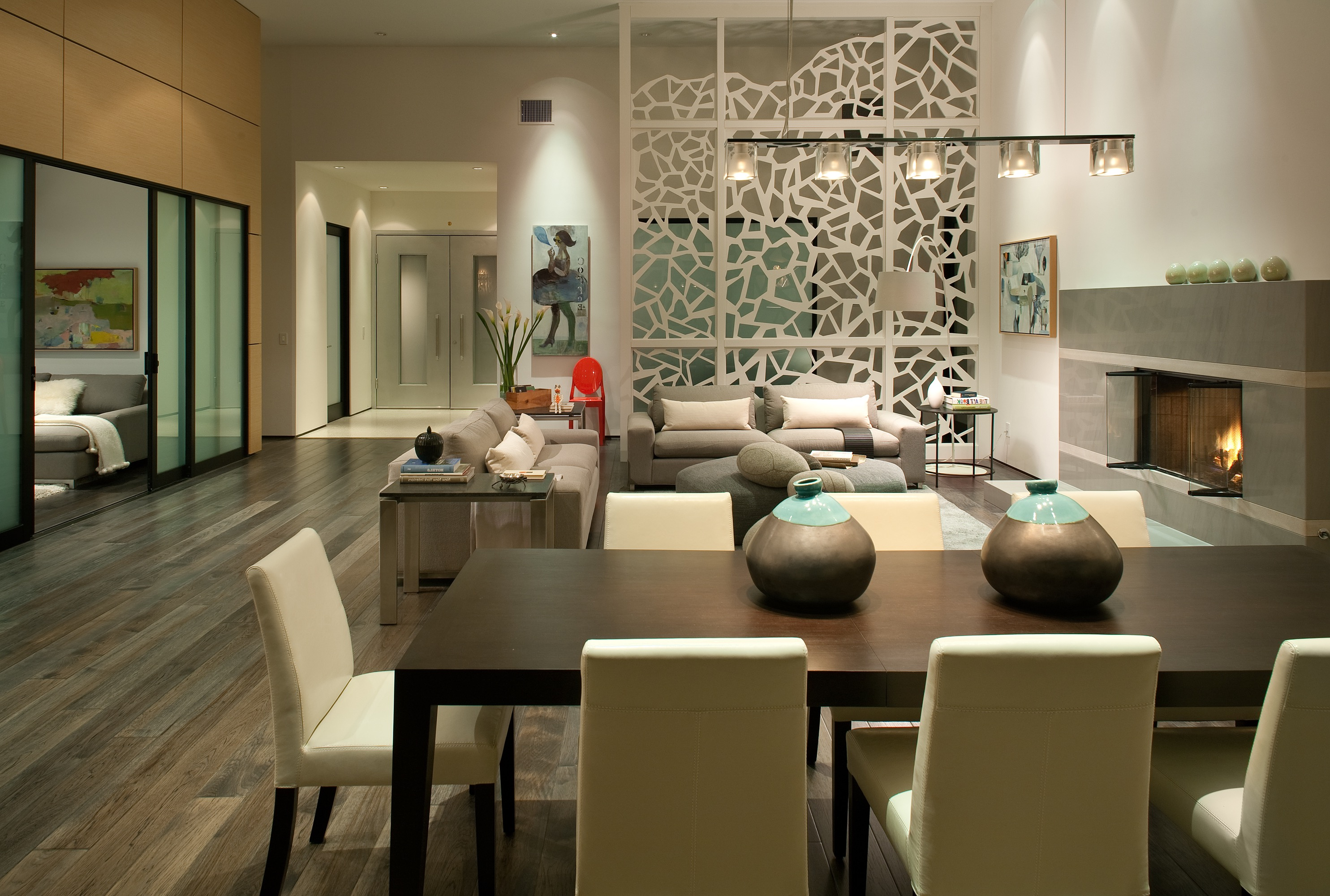 Contemporary White Divider For Dining Room And Living Room (Image 3 of 14)