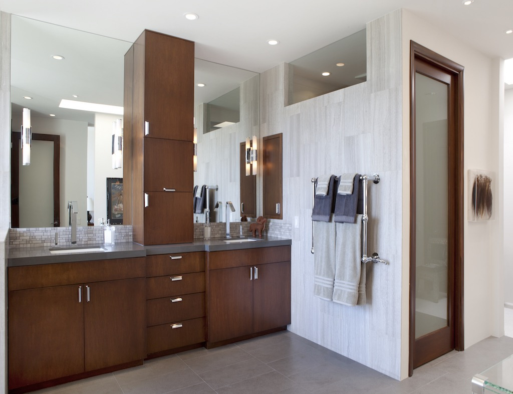 Contemporary Bathroom Features Cabinet Storage On The Counter Top (View 11 of 20)