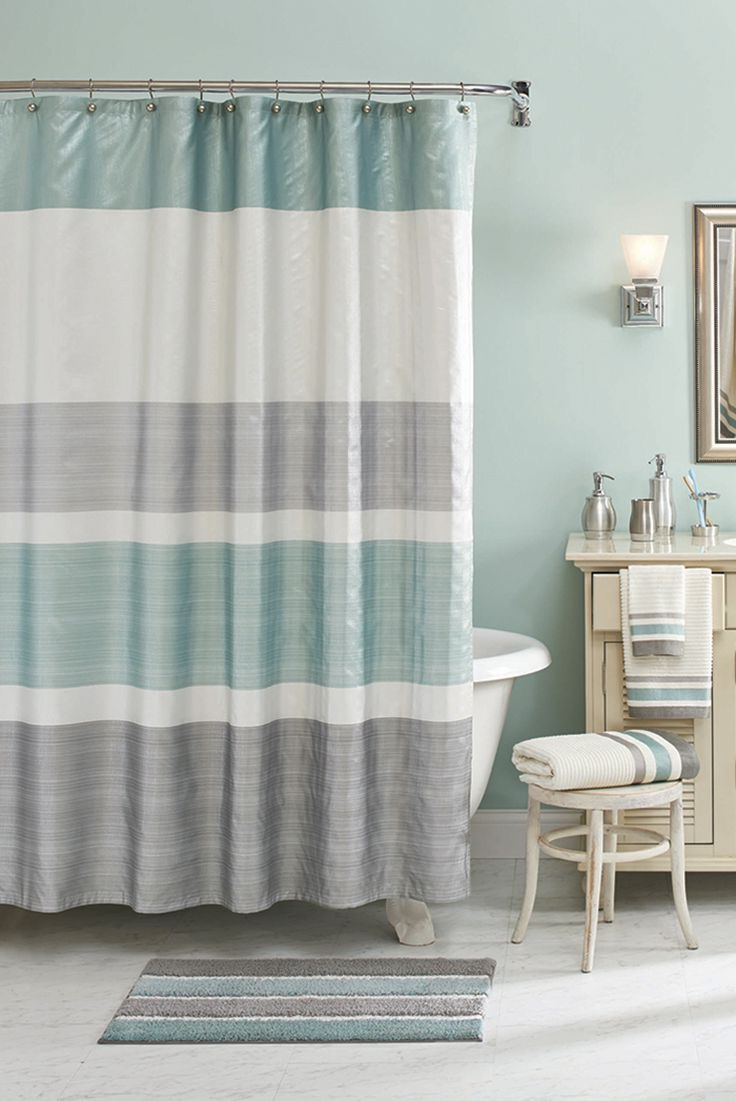 Cozy Bathroom Shower Curtain In Neutral Color (Image 5 of 15)