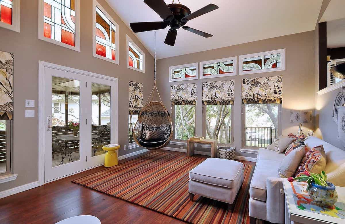 Cozy Living Room Decor With Hanging Chair And Striped Southwestern Rug (Image 6 of 15)