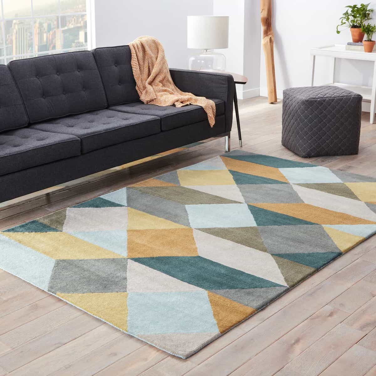 Cozy Yellow & Gray Geometric Wool Hand Tufted Area Rug For Modern Living Room With Contemporary Sofa And Chairs (Image 5 of 15)