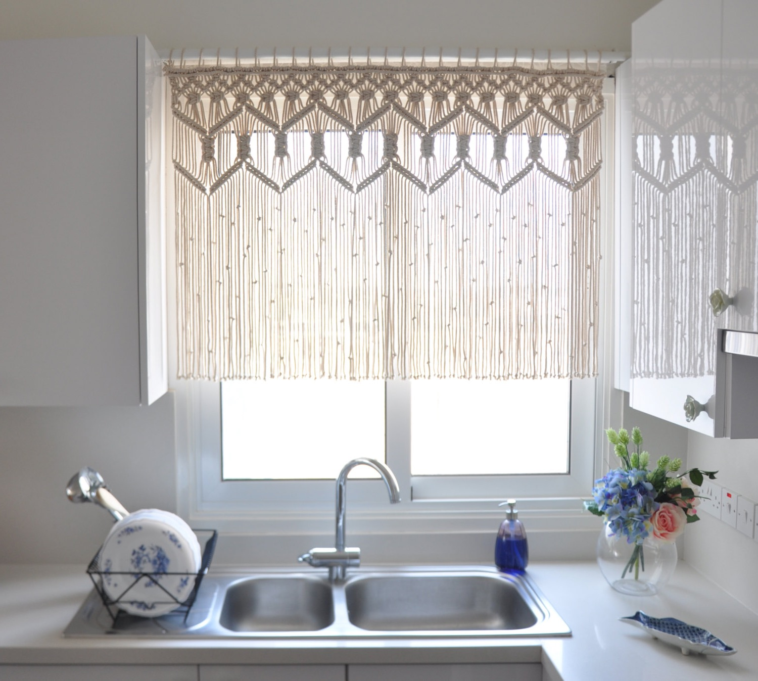 Custom Kitchen Macrame Curtains (View 3 of 12)