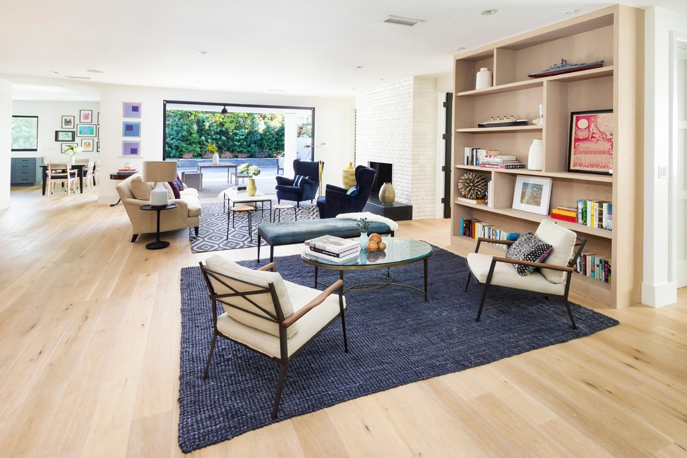 Dark Blue Rug For Open Space Modern Living Room (Image 4 of 10)
