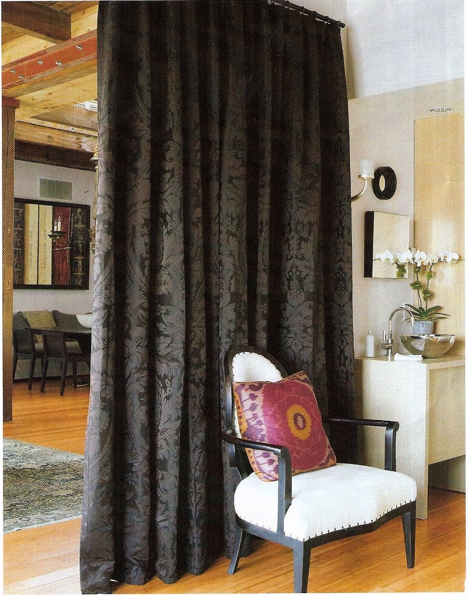 Dark Fabric Curtain Room Divider (Image 5 of 14)