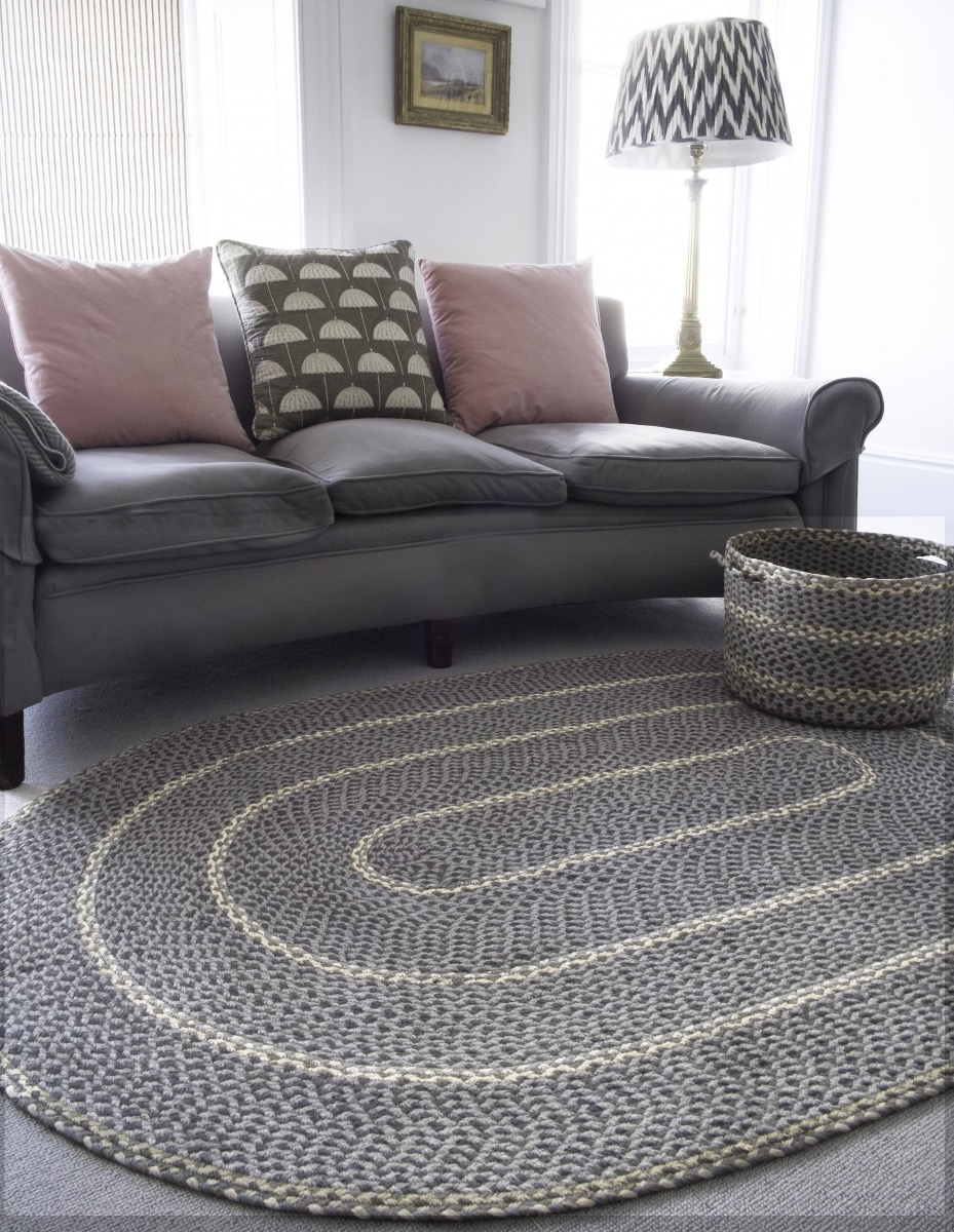 Double Sided Jute Oval Rug Grey Color For Modern Living