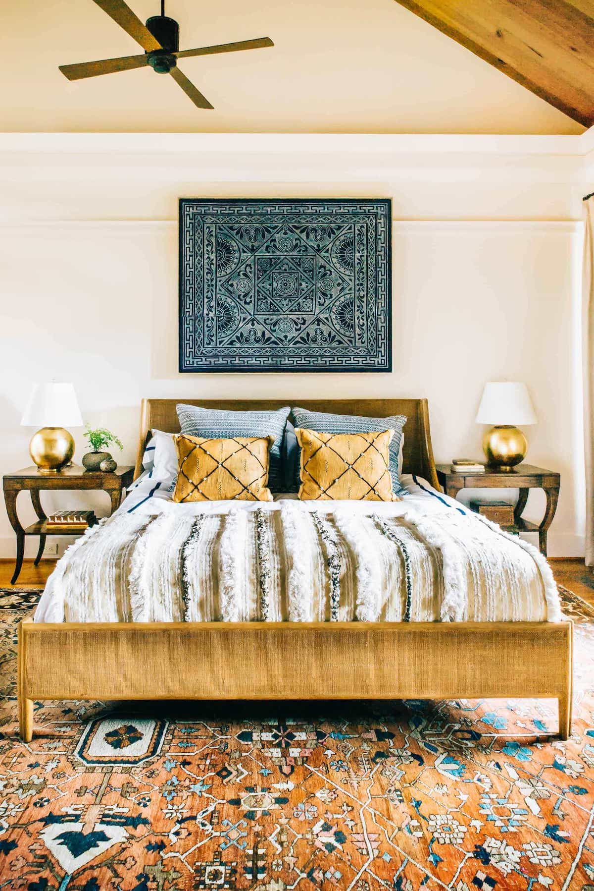 Eclectic Neutral Bedroom Pairing With The Orange Oriental Wool Rug With Blue Art (Image 8 of 15)