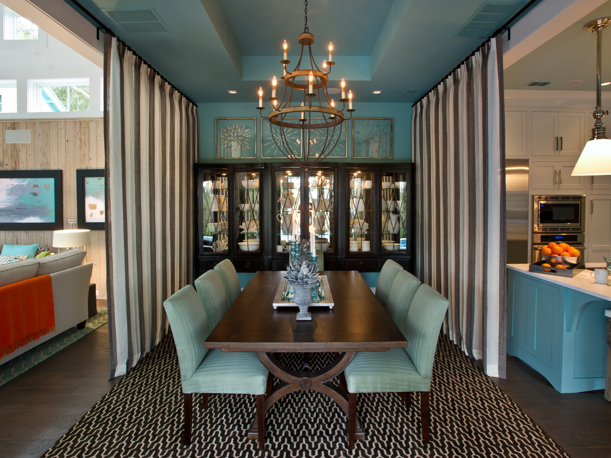 Elegance Double Curtain Dividers For Contemporary Dining Room (Image 6 of 14)
