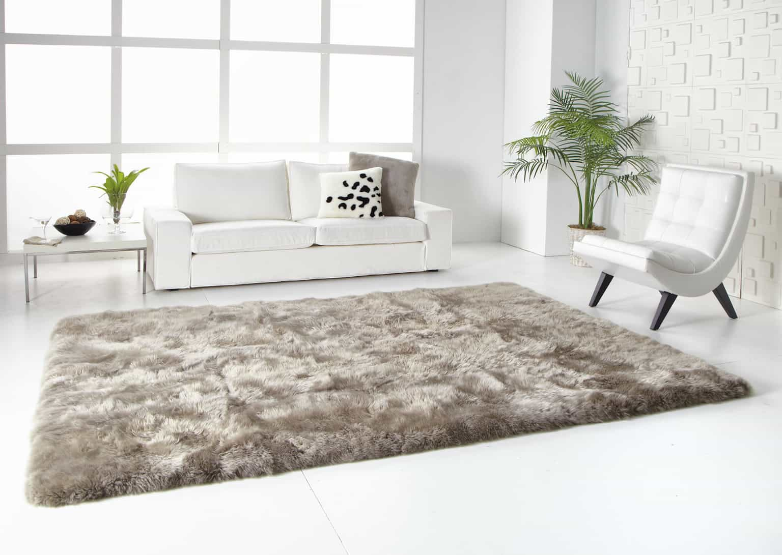 Elegance Living Room with Minimalist Chairs and Soft Sheepskin Fur Rug