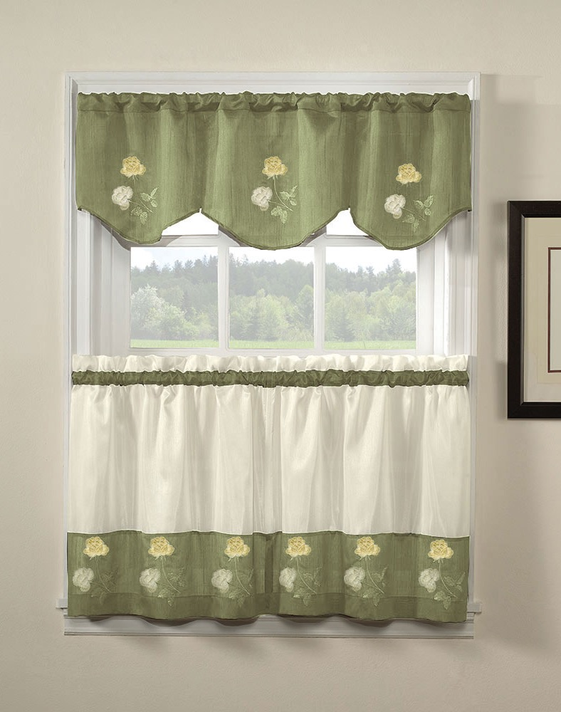 Green Rose Kitchen Curtains And Valances (View 6 of 12)