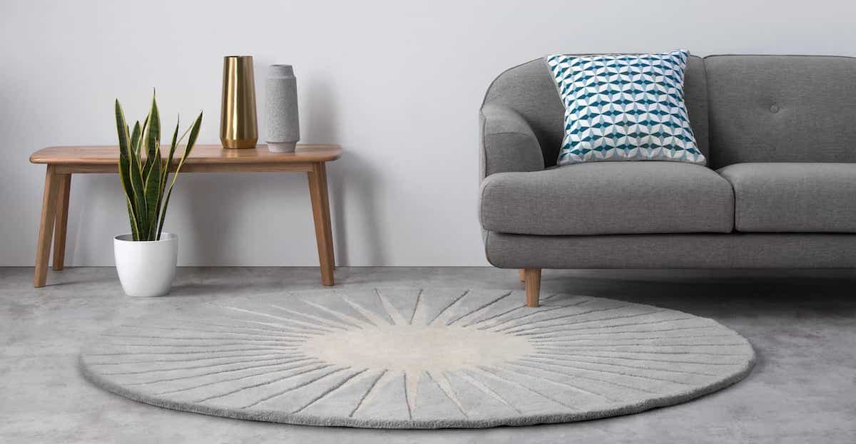 Grey Rug Round Circular Wool Tufted For Cozy Living Room (Image 11 of 15)
