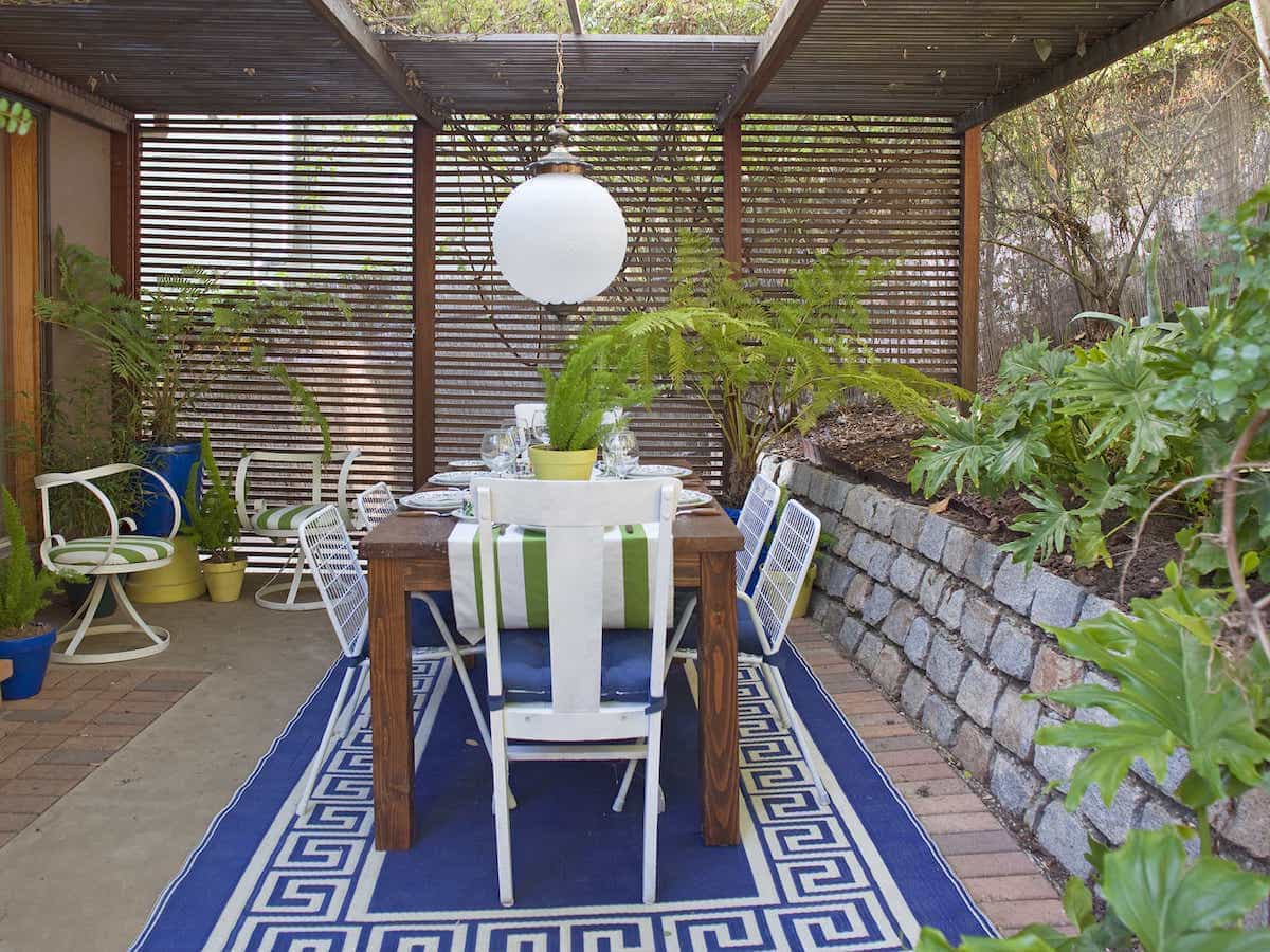 Japanese Dining Area Outdoor With Shade Outdoor Rug (Image 12 of 15)