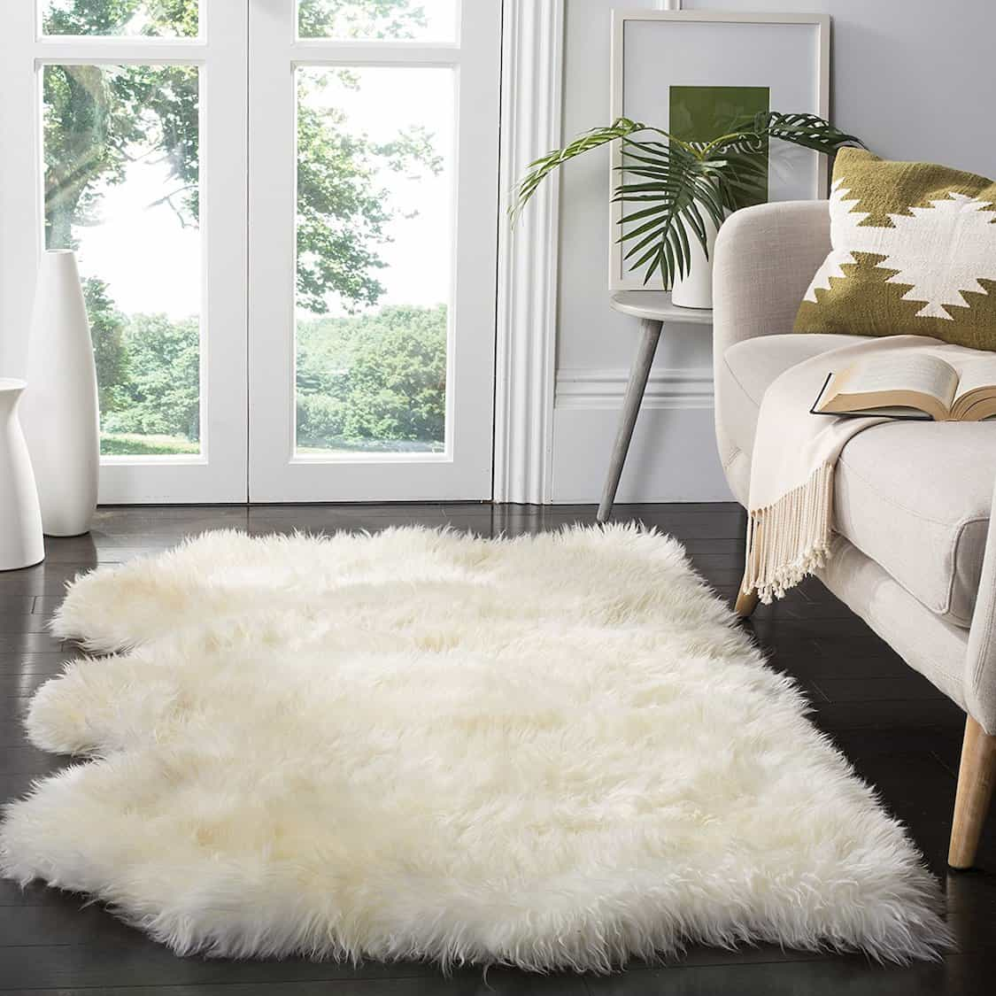 Large Ivory White Sheepskin Rug (Image 12 of 15)