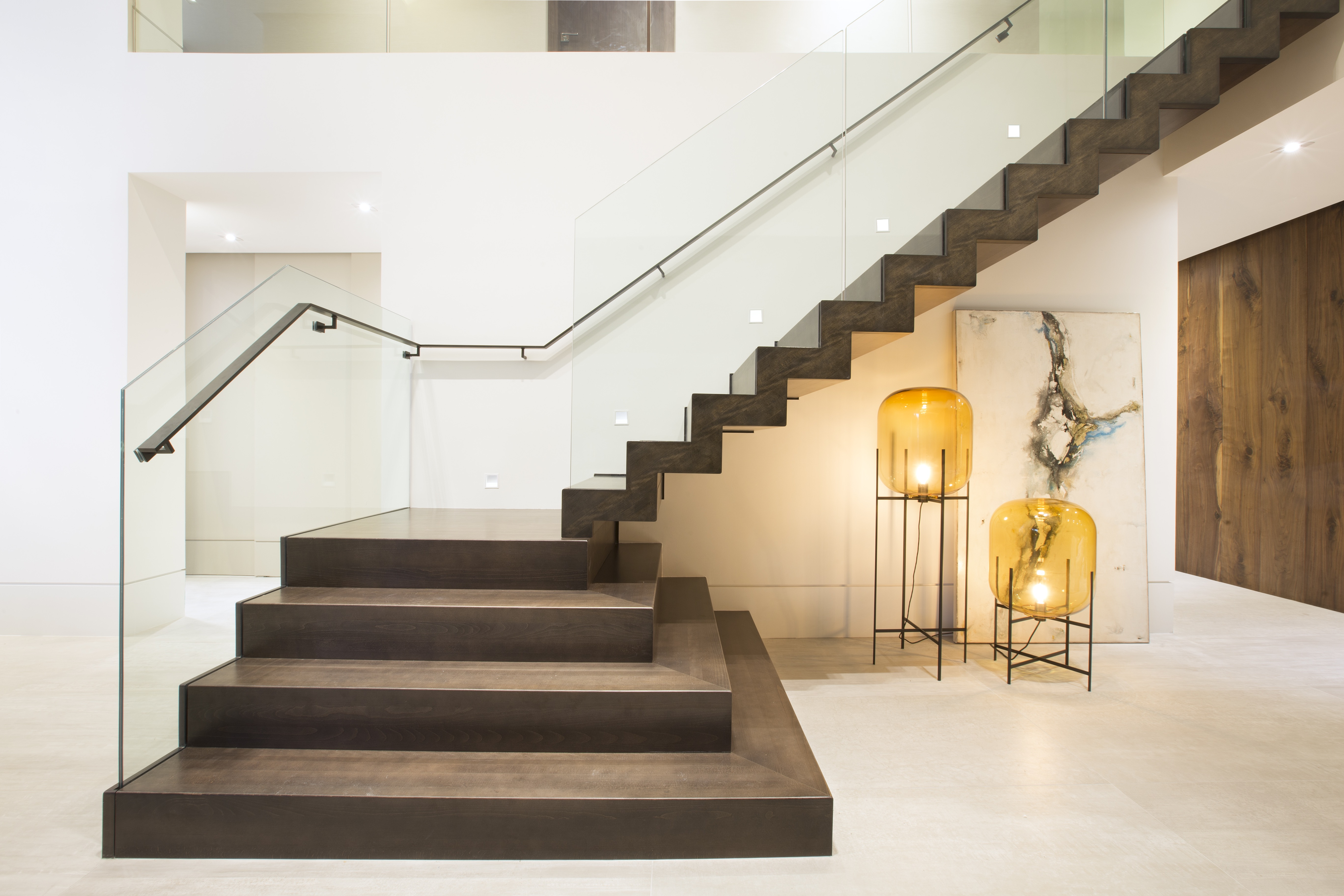 Luxury Loft Stairs With Glass Railing (Image 4 of 10)