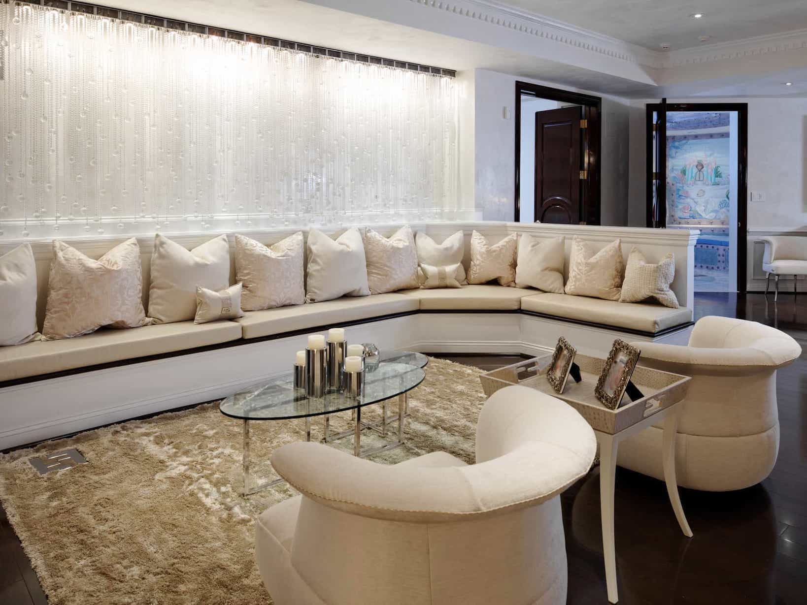 Luxury Shag Rug For Contemporary Sitting Room With Large Neutral Banquette (Image 7 of 15)