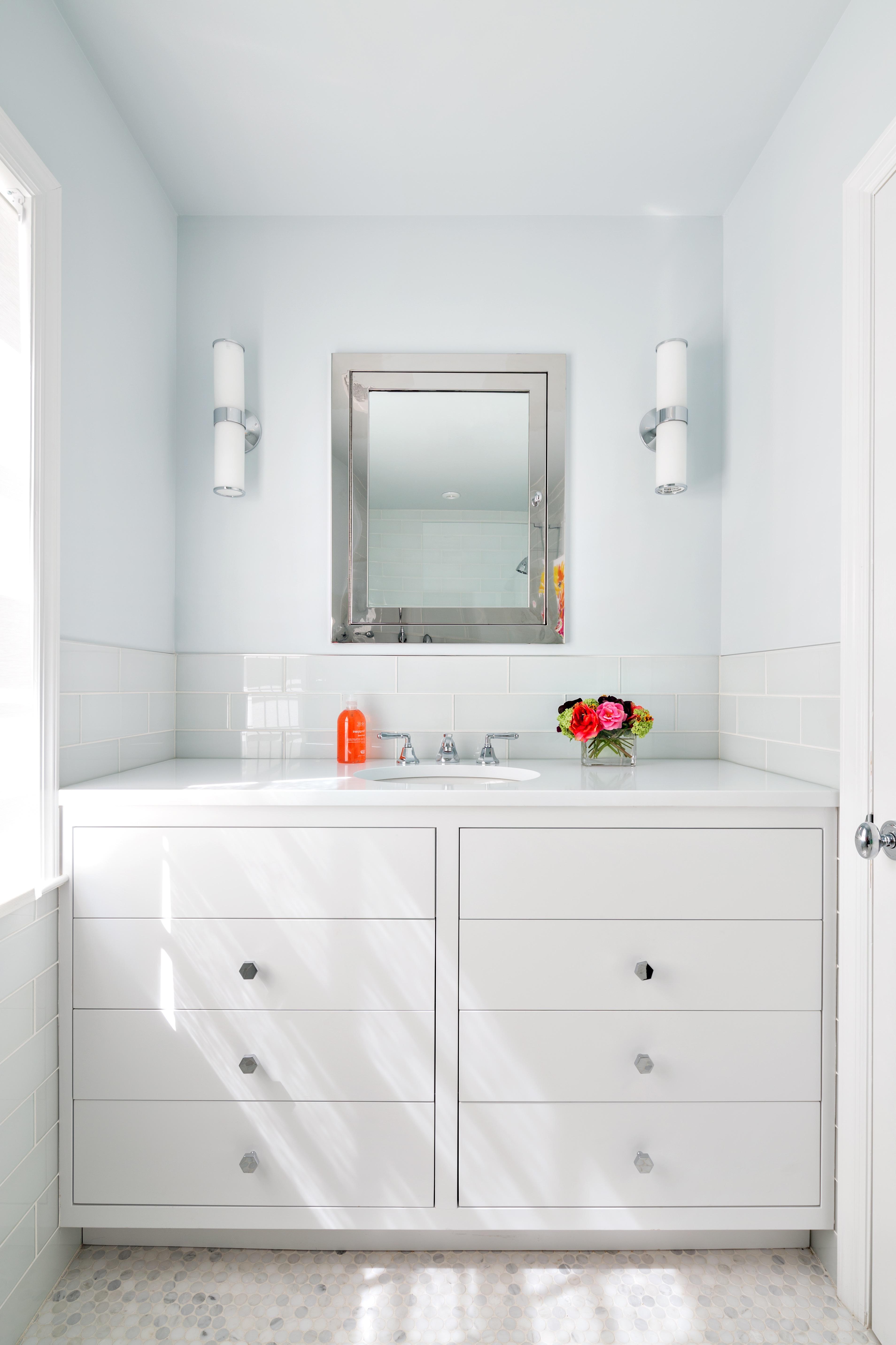 Minimalist White Flat Panel Bathroom Vanity Storage Cabinets (View 2 of 20)