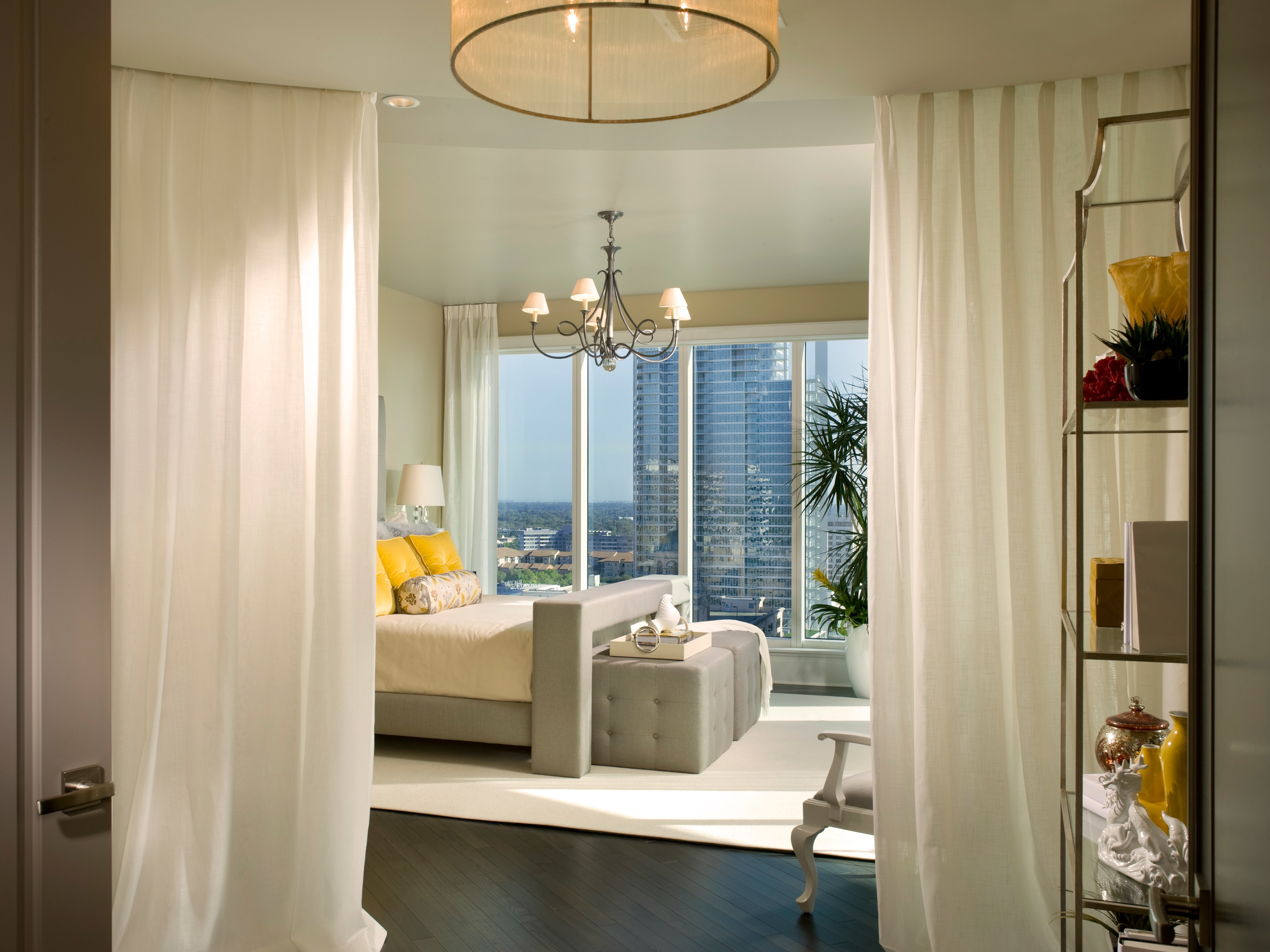 Modern Apartment Bedroom With Bedroom With Curtain Room Divider (Image 8 of 14)