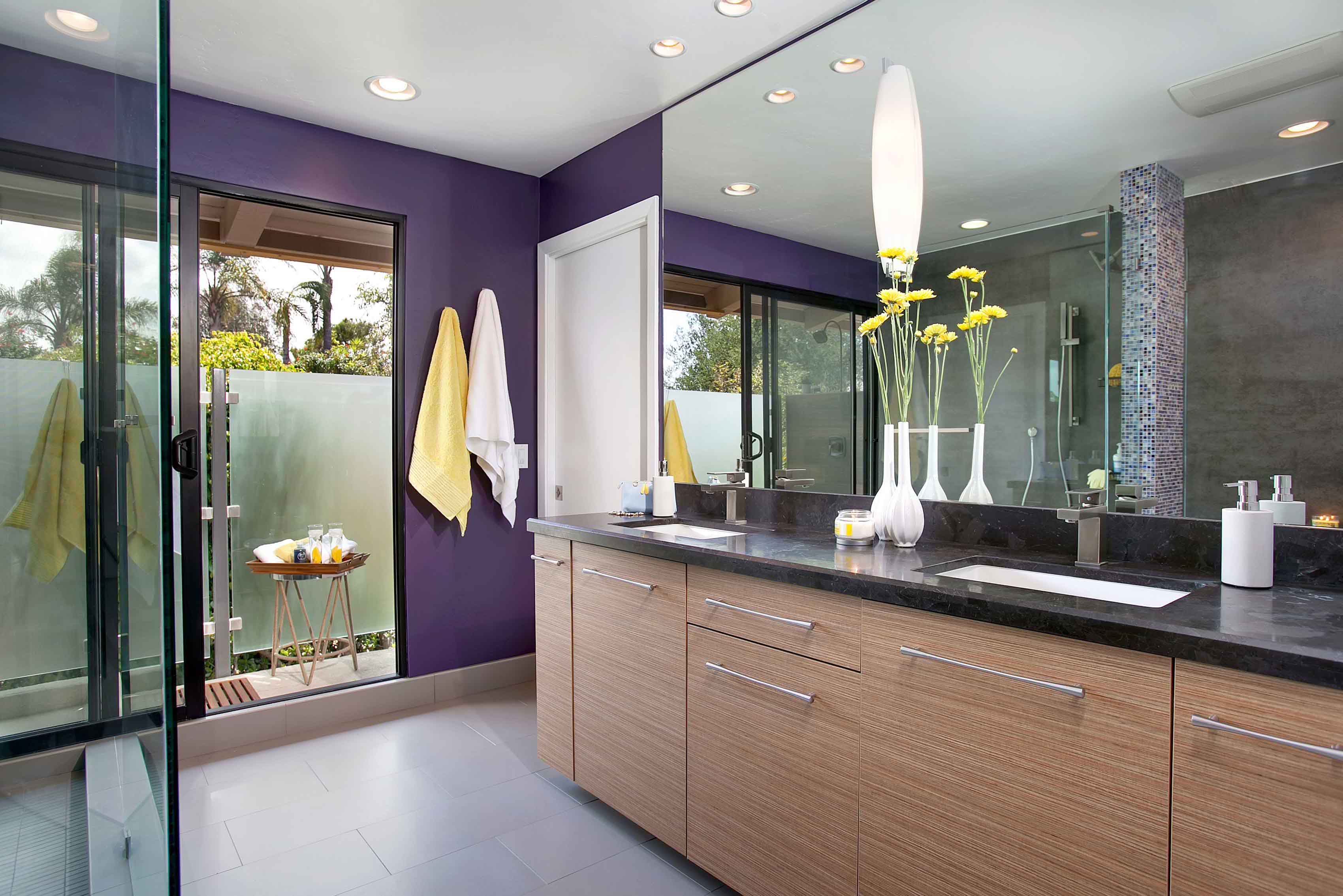 Modern Bathroom Bathroom Repaint And Remodel With Pop Color (Image 4 of 7)