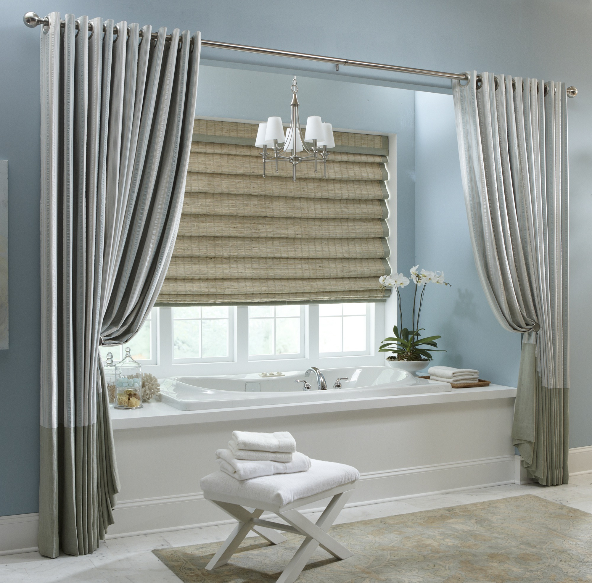 Modern Bathroom Shower Curtain And Bamboo Window Curtain (Image 10 of 15)