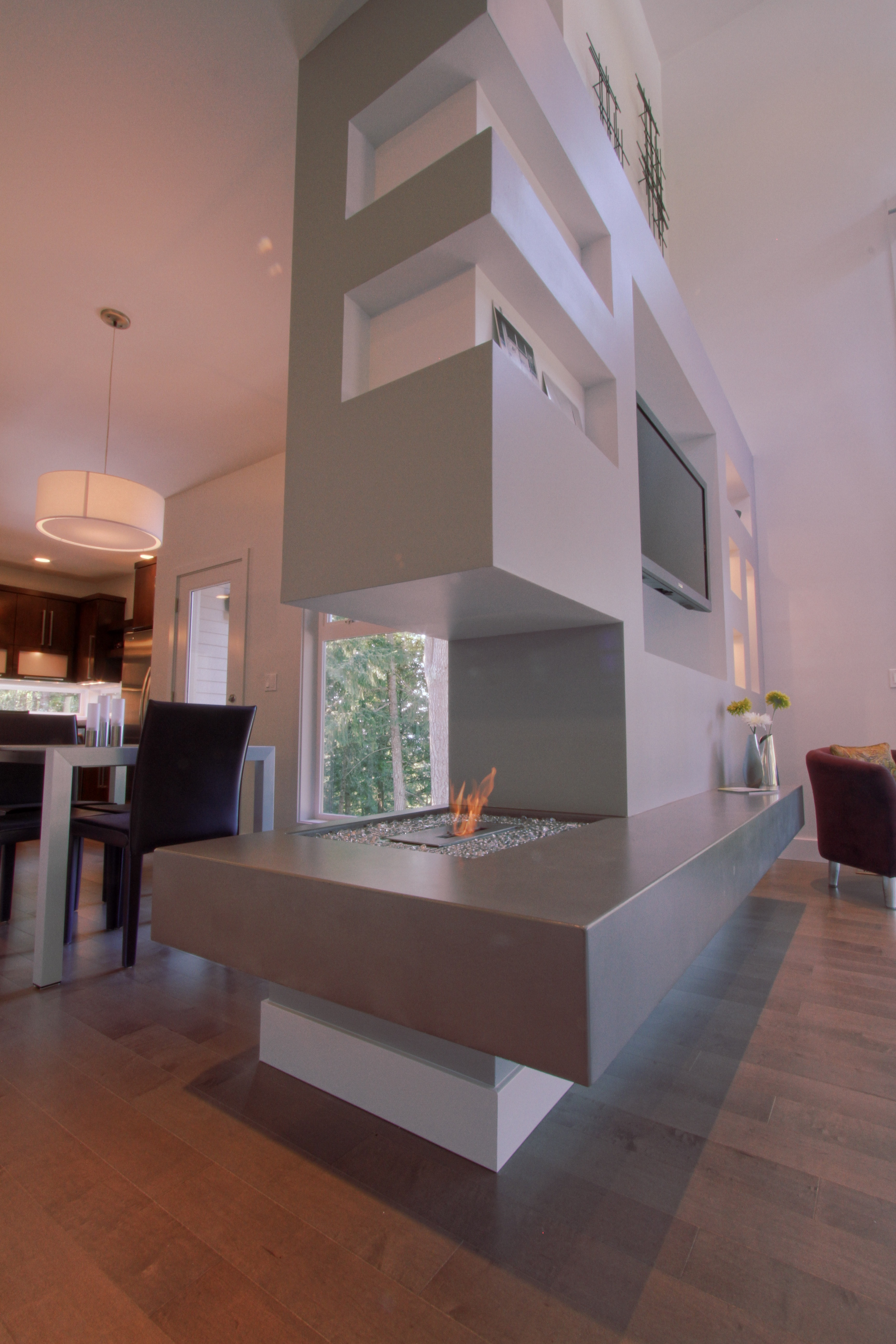 Modern Gray Structural Room Divider With Fireplace And Shelving (Image 9 of 14)