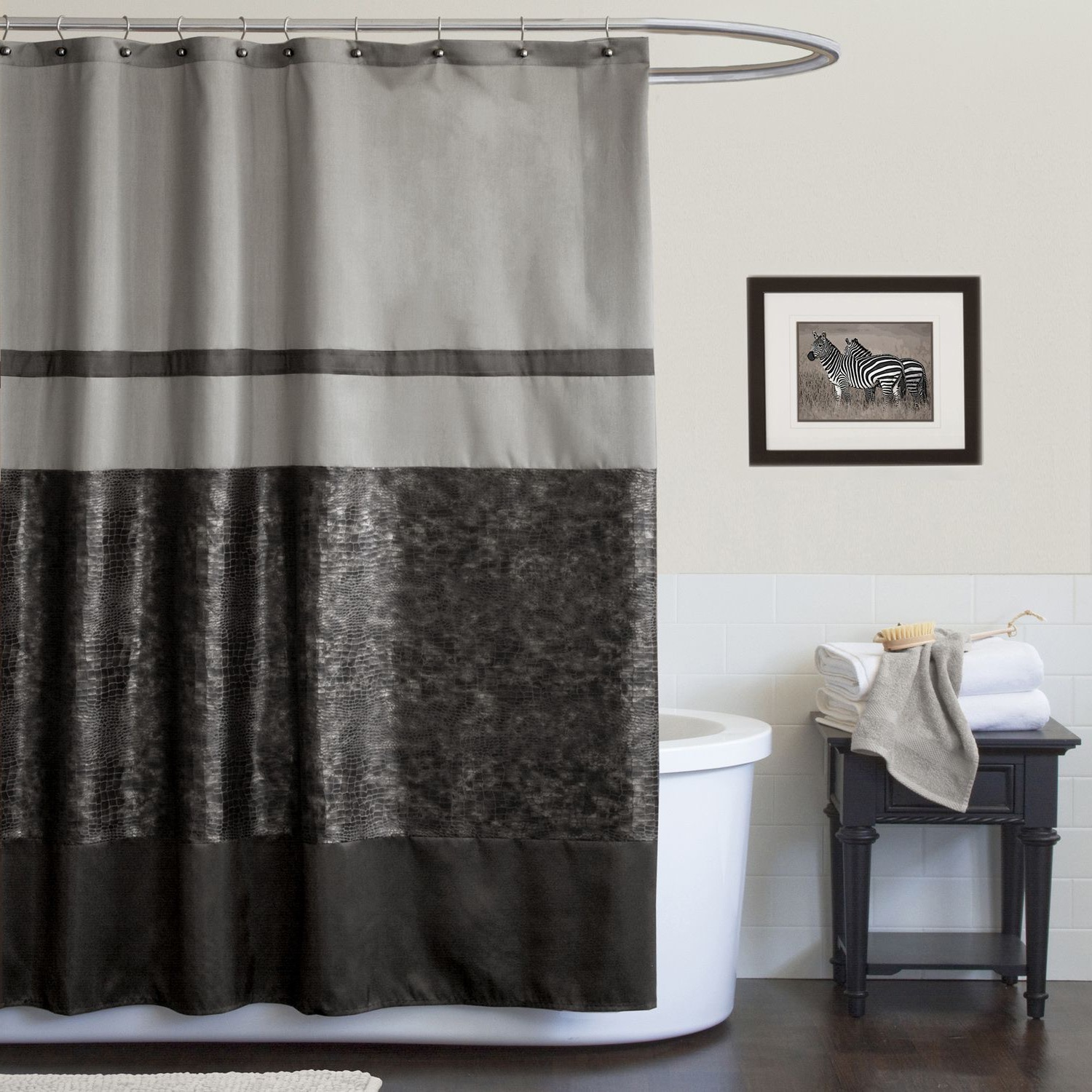 modern traditional two curtains shower curtain tones white blue stylish and