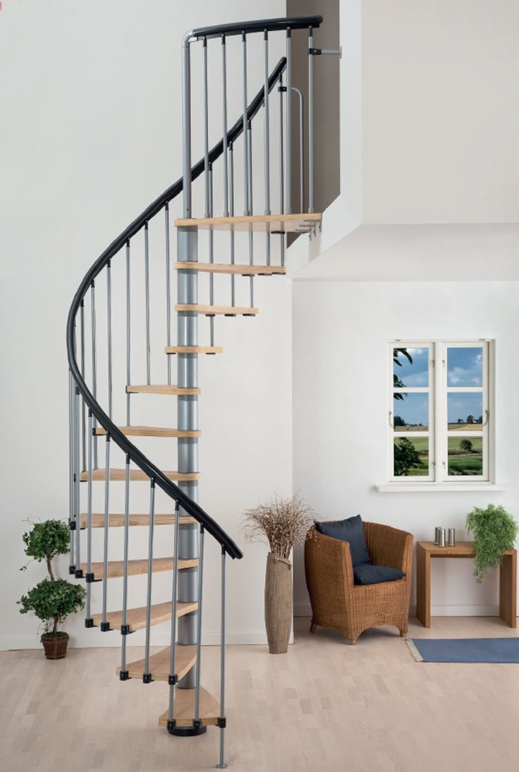 Modern Spiral Loft Stairs With Metal Railing (Image 8 of 10)