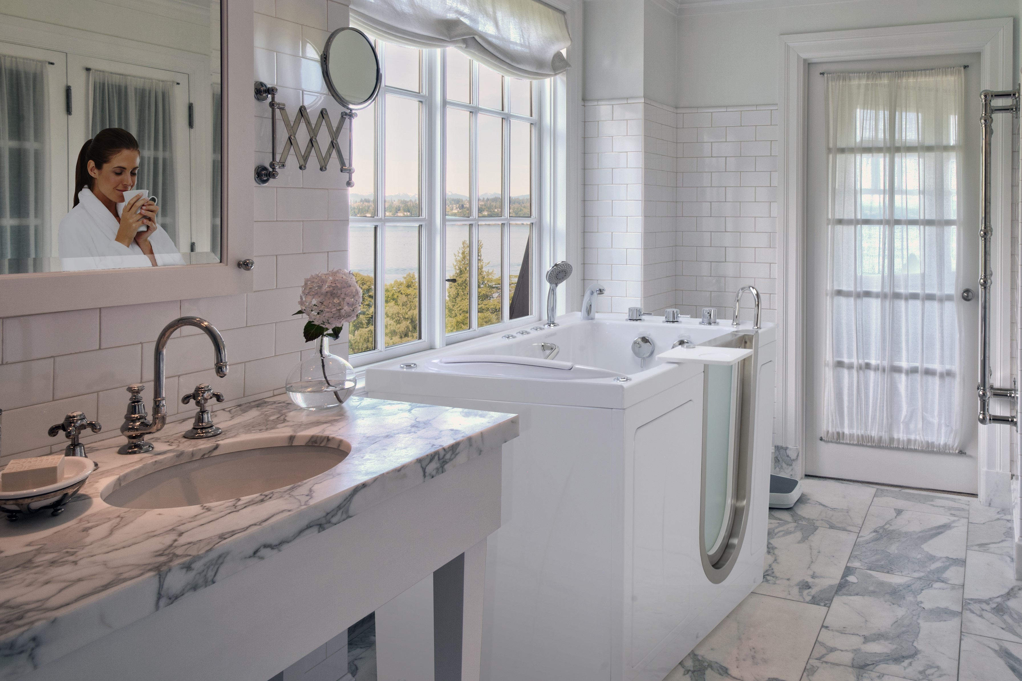 Modern Walk In Tub With Brick Wall Decor (Image 9 of 15)