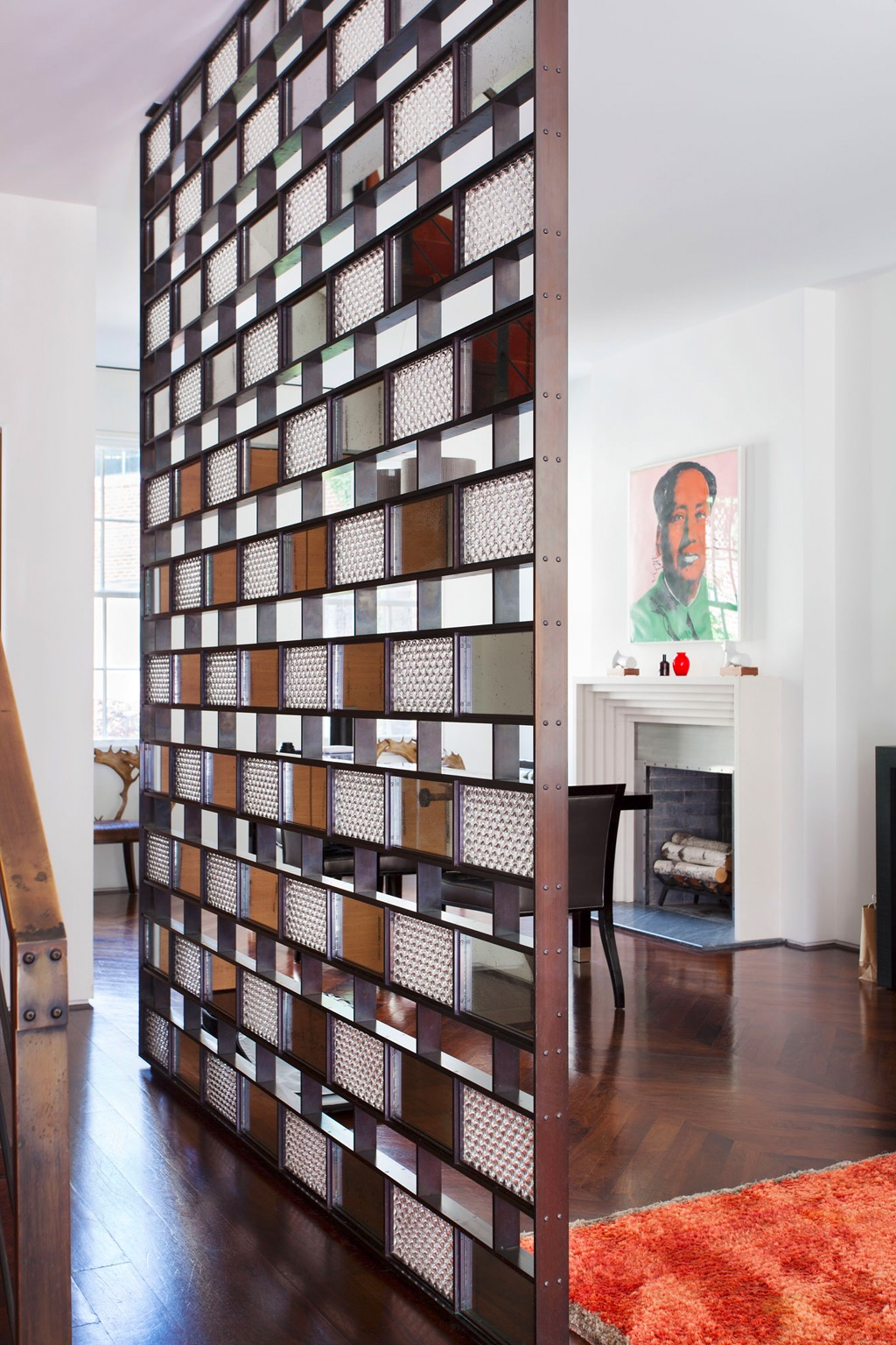Modern Wooden Room Divider With Textured Glass Bricks (View 9 of 14)