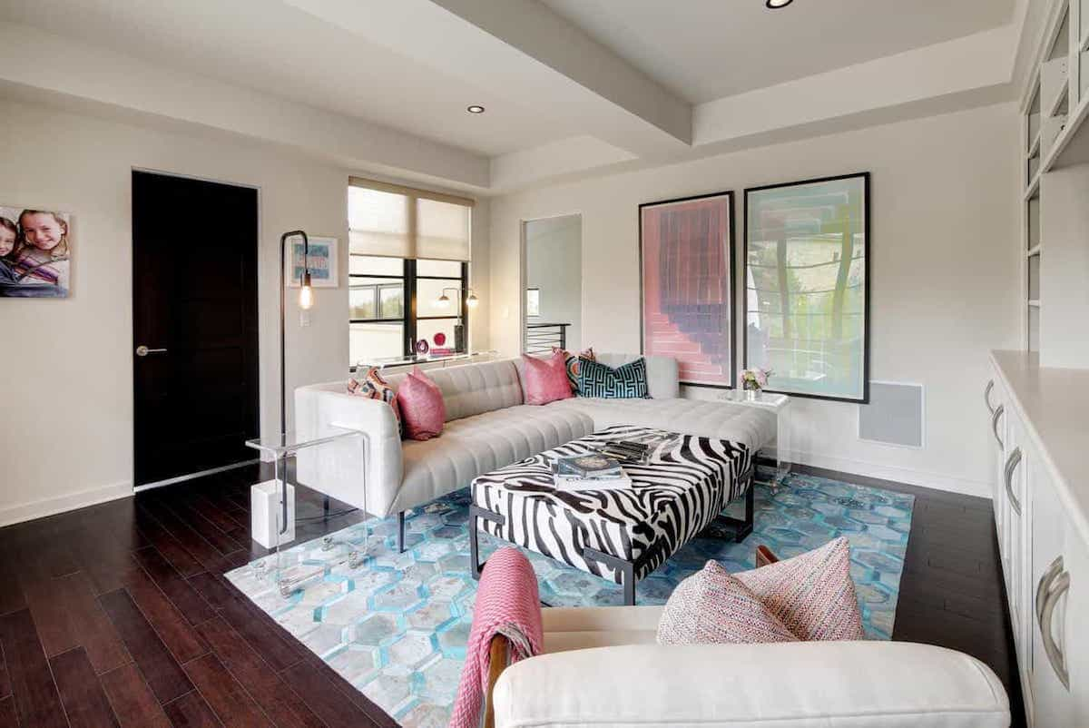 Multicolored Contemporary Living Room With Blue Southwestern Rug (View 11 of 15)