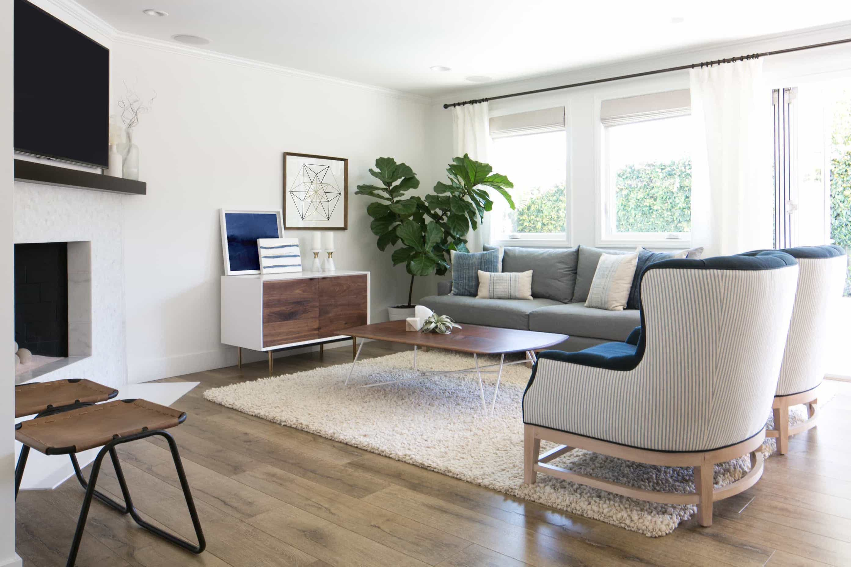 Neutral Shag Rug for Midcentury Modern Living Room