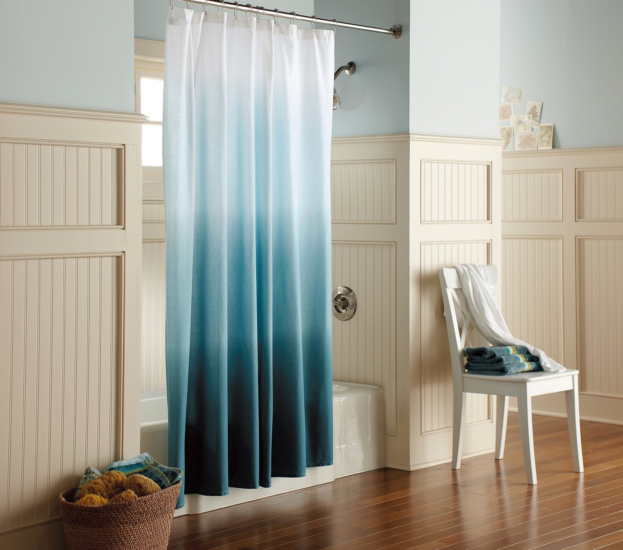 Ocean Blue Shower Curtain In Modern Design (View 14 of 15)