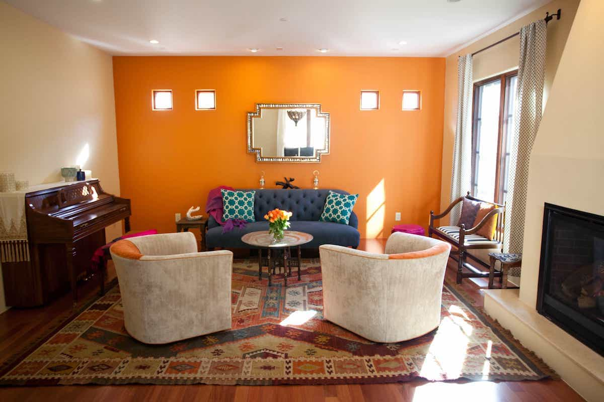 Orange Accent Southwestern Rug And Wall Wows In Moroccan Sitting Room (Image 10 of 15)