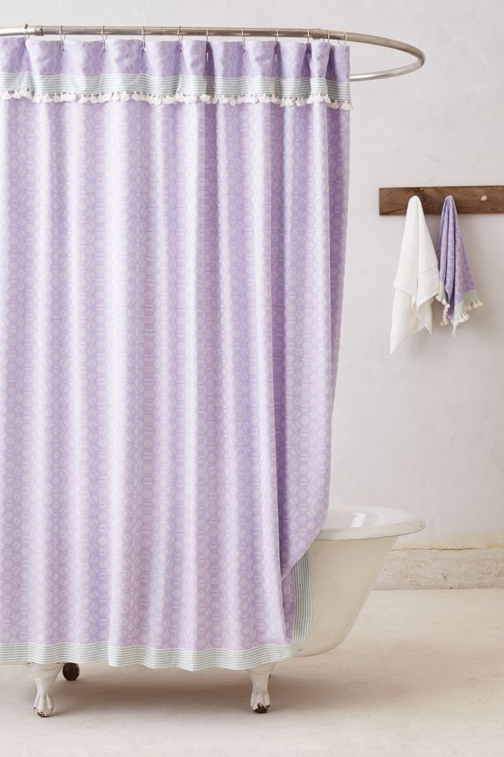 Shabby Chic Purple Bathroom Shower Curtain (View 11 of 15)