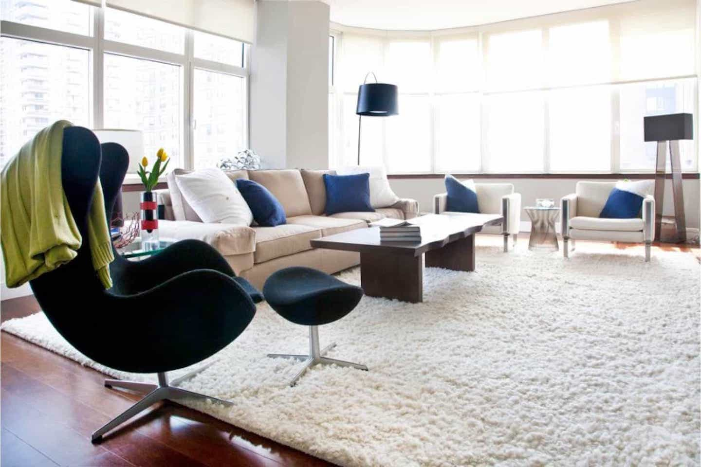 Shag Rug Softens Spare Living Room (Image 15 of 15)