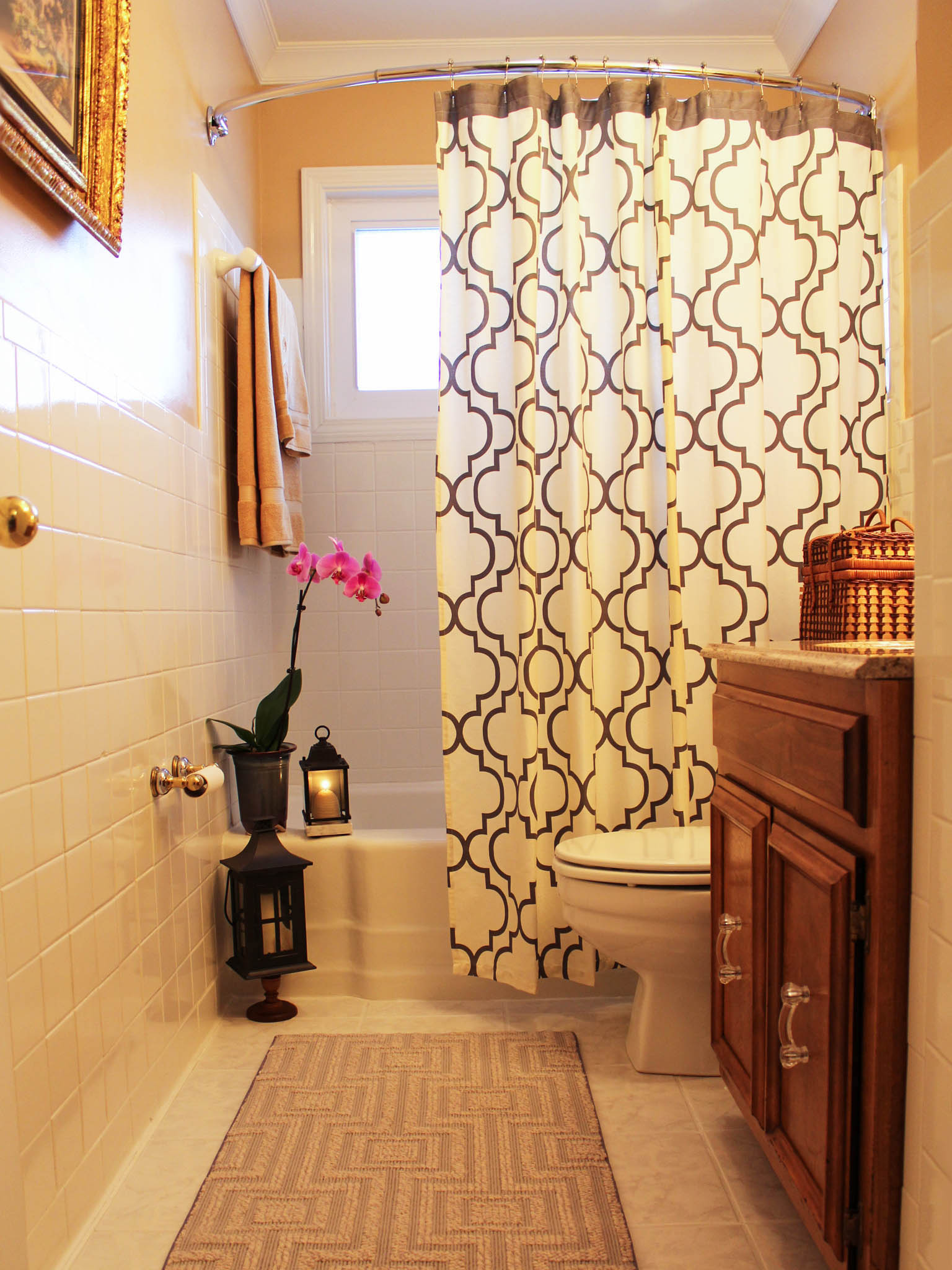 Simple Bathroom Remodel With Modern Shower Curtain (View 6 of 7)