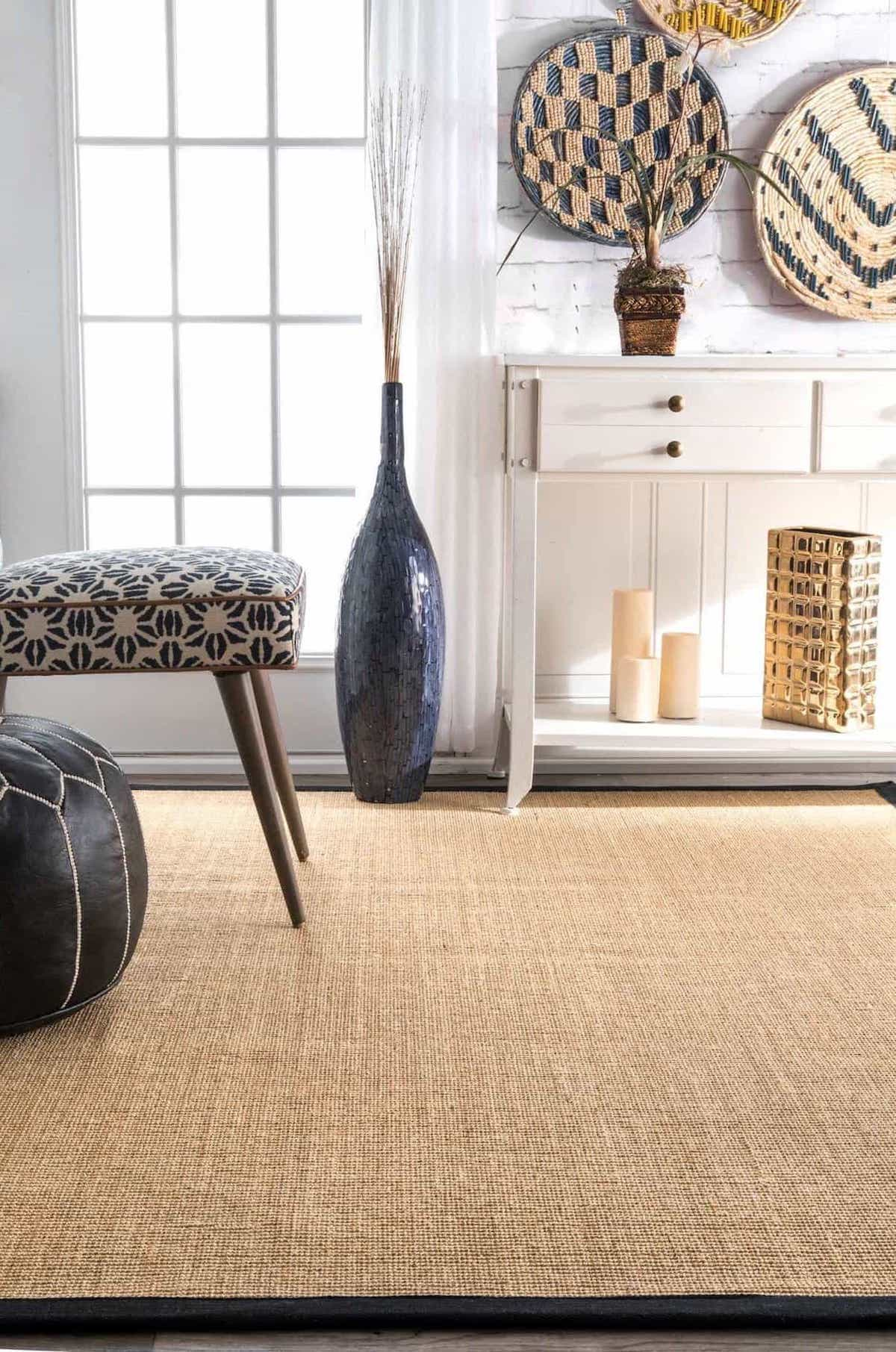 Sisal Rug With Fabric Border For Shabby Chic Living Room Decor With Rug Flooring (View 3 of 15)