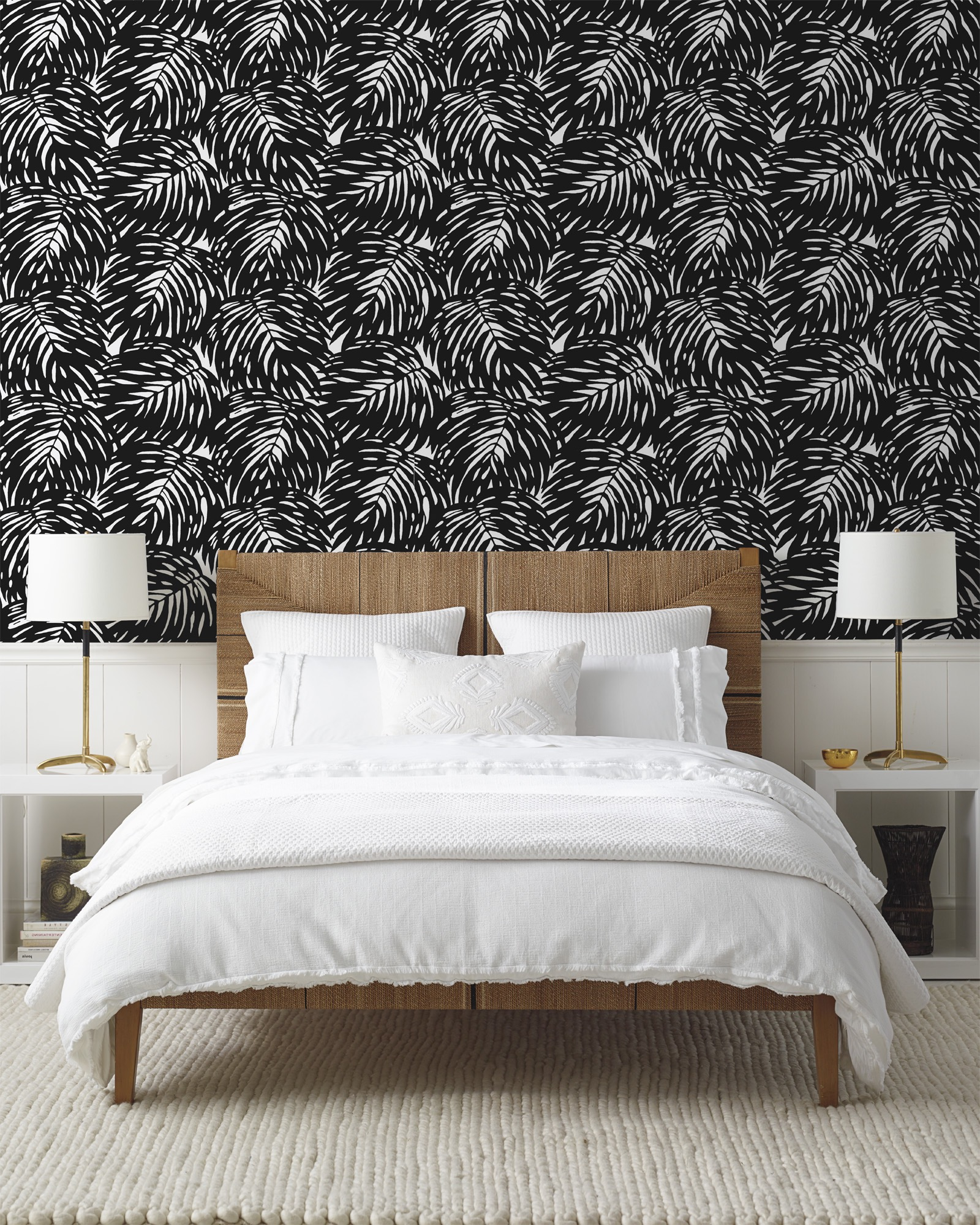 Stunning Braided Wool Rug For Contemporary Bedroom Decor With Black White Wallpaper (View 12 of 15)