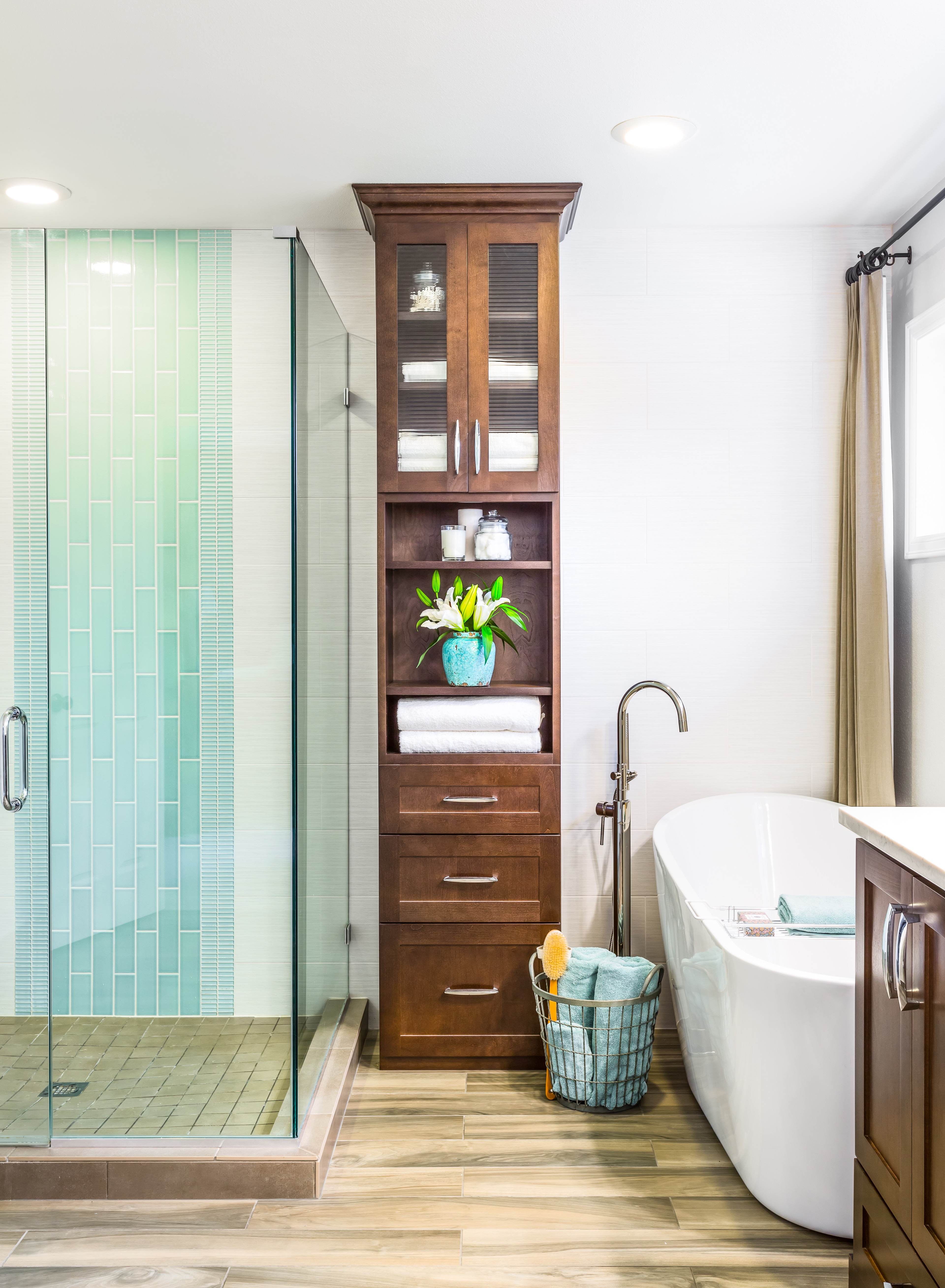 Tall Linen Wood Cabinet Storage For Contemporary Bathroom (Image 16 of 20)