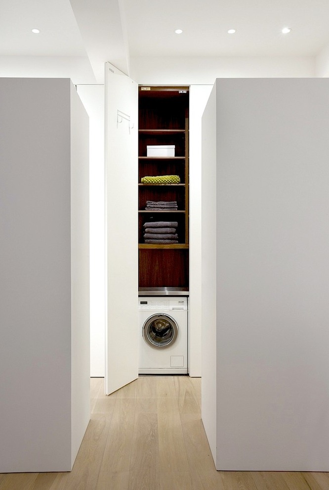 Tall Flat Panel Cabinet Storage For Contemporary Laundry Room (Image 15 of 20)