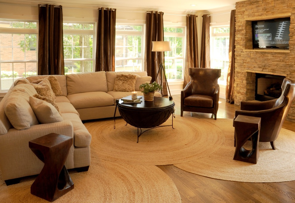 Three Circular Braided Rugs Decor For Contemporary Living Room (View 3 of 15)