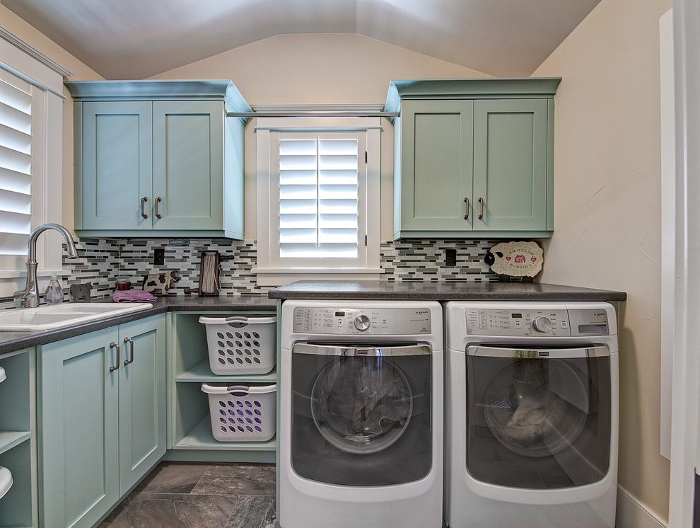 Traditional L Shaped Dedicated Laundry Room Storage Cabinets (View 8 of 20)