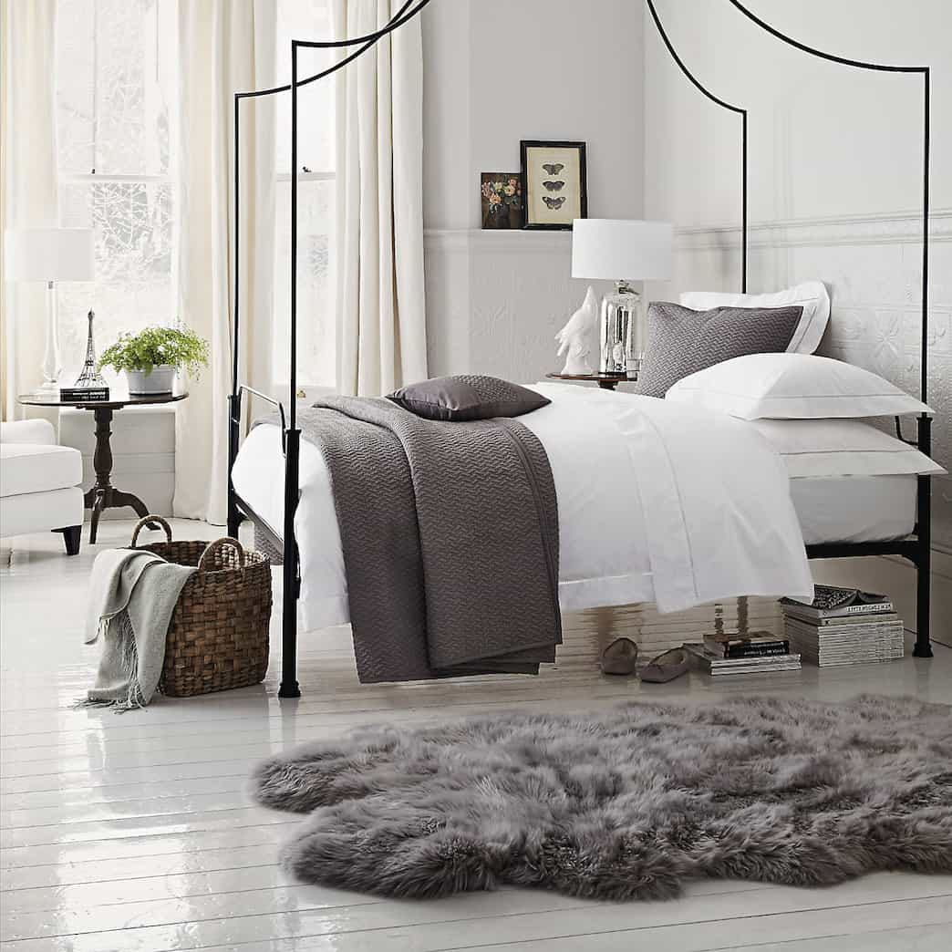 Traditional Neutral Bedroom With Grey Faux Sheepskin Rugs Small Size (Image 15 of 15)