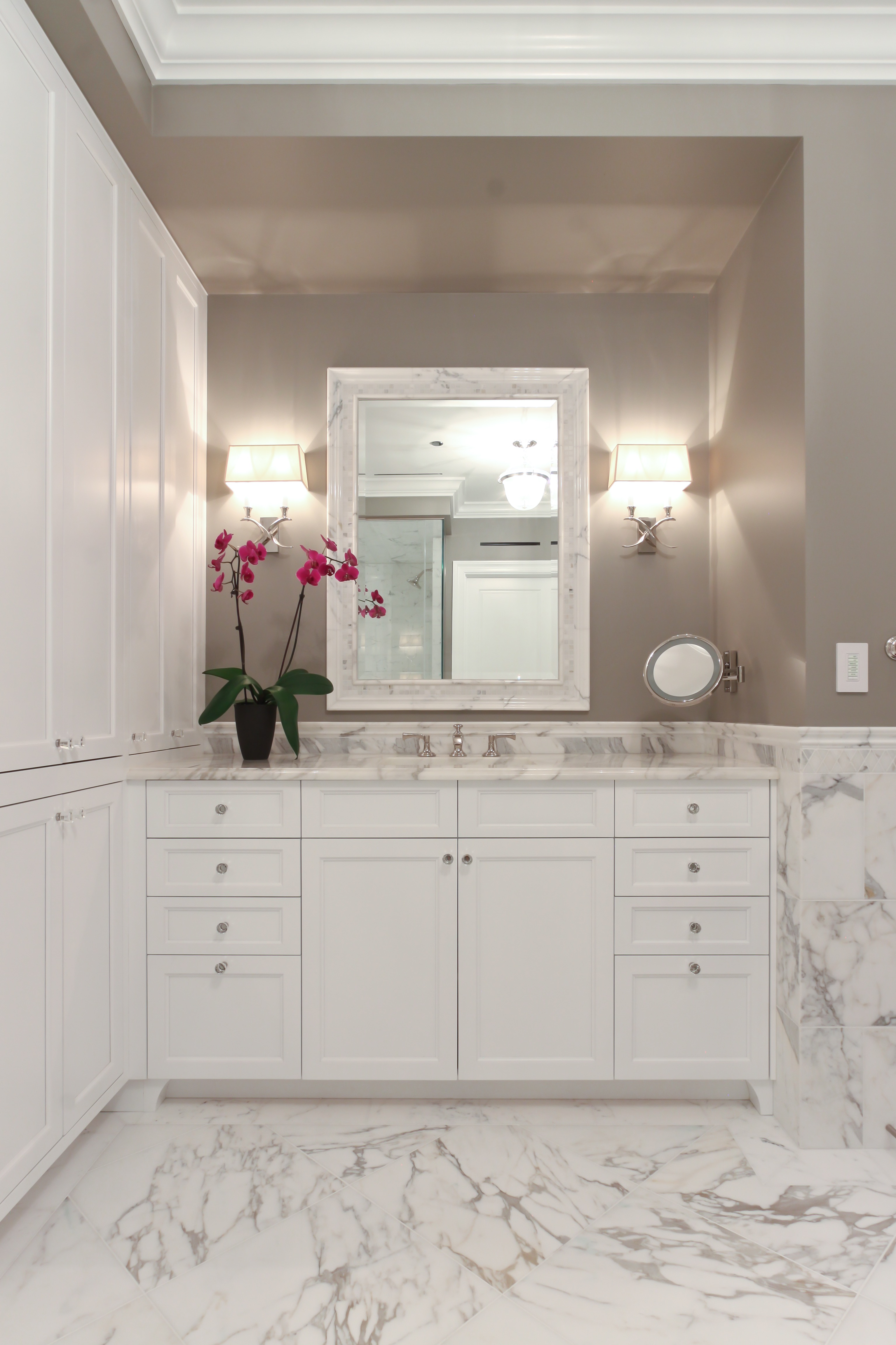 Transitional Gray Bathroom With Classy White Vanity And Storage (Image 18 of 20)