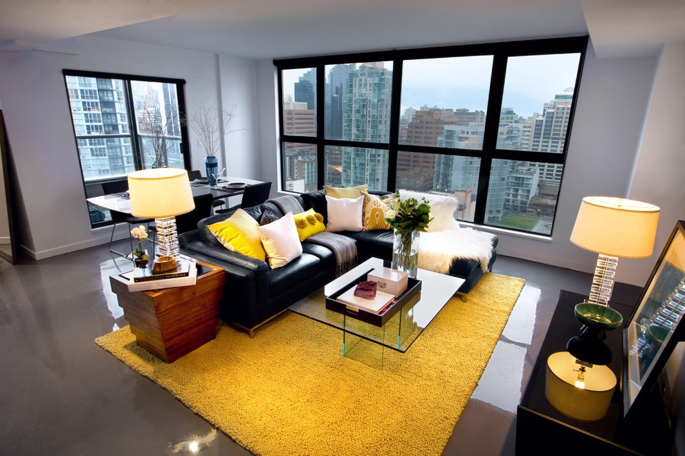 Yellow Rug Decor for Modern Apartment Living Room