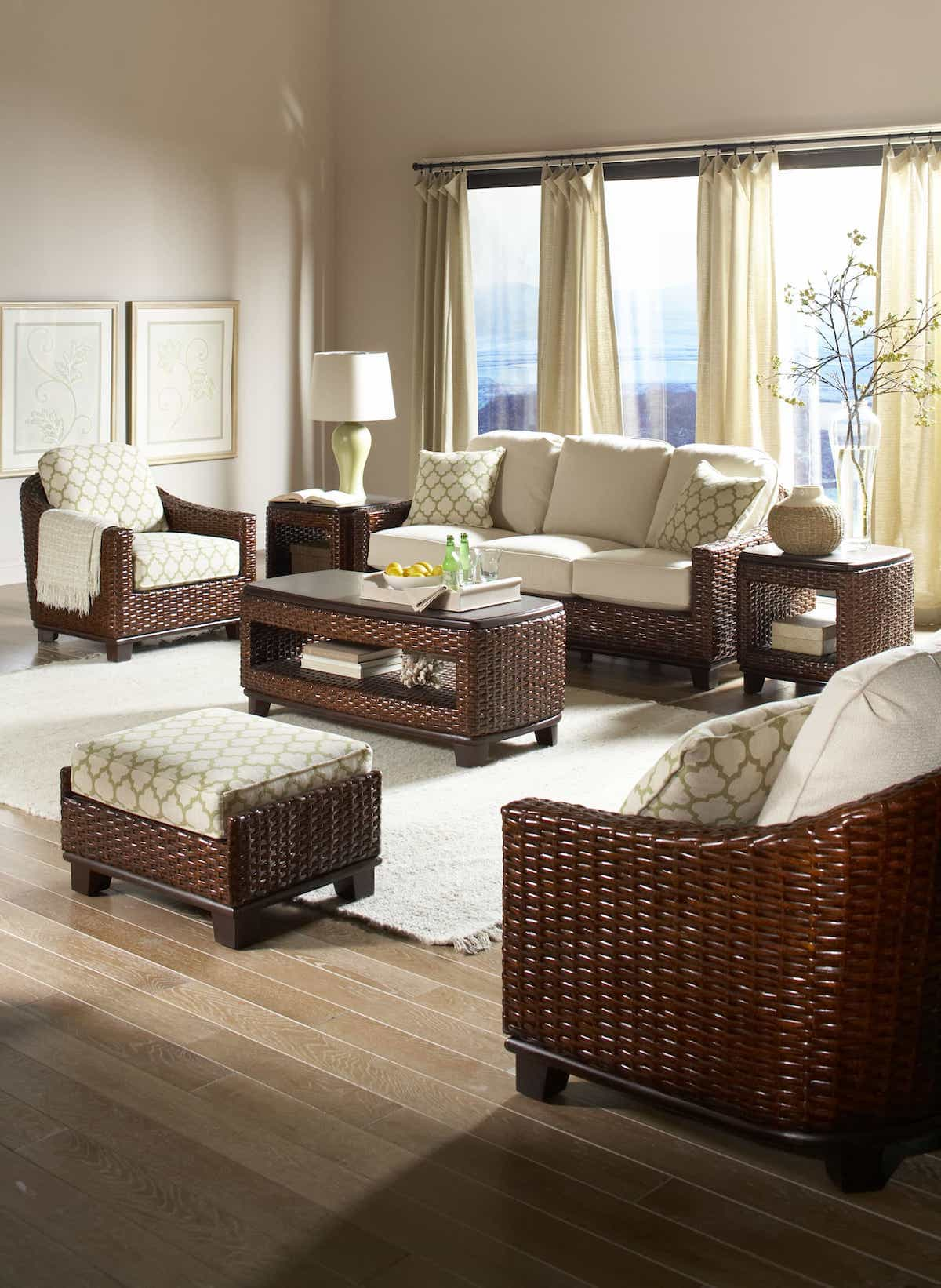 Classic Living Room Furniture Set With Rattan Table And Chairs With Sisal Rug Flooring (Image 5 of 15)