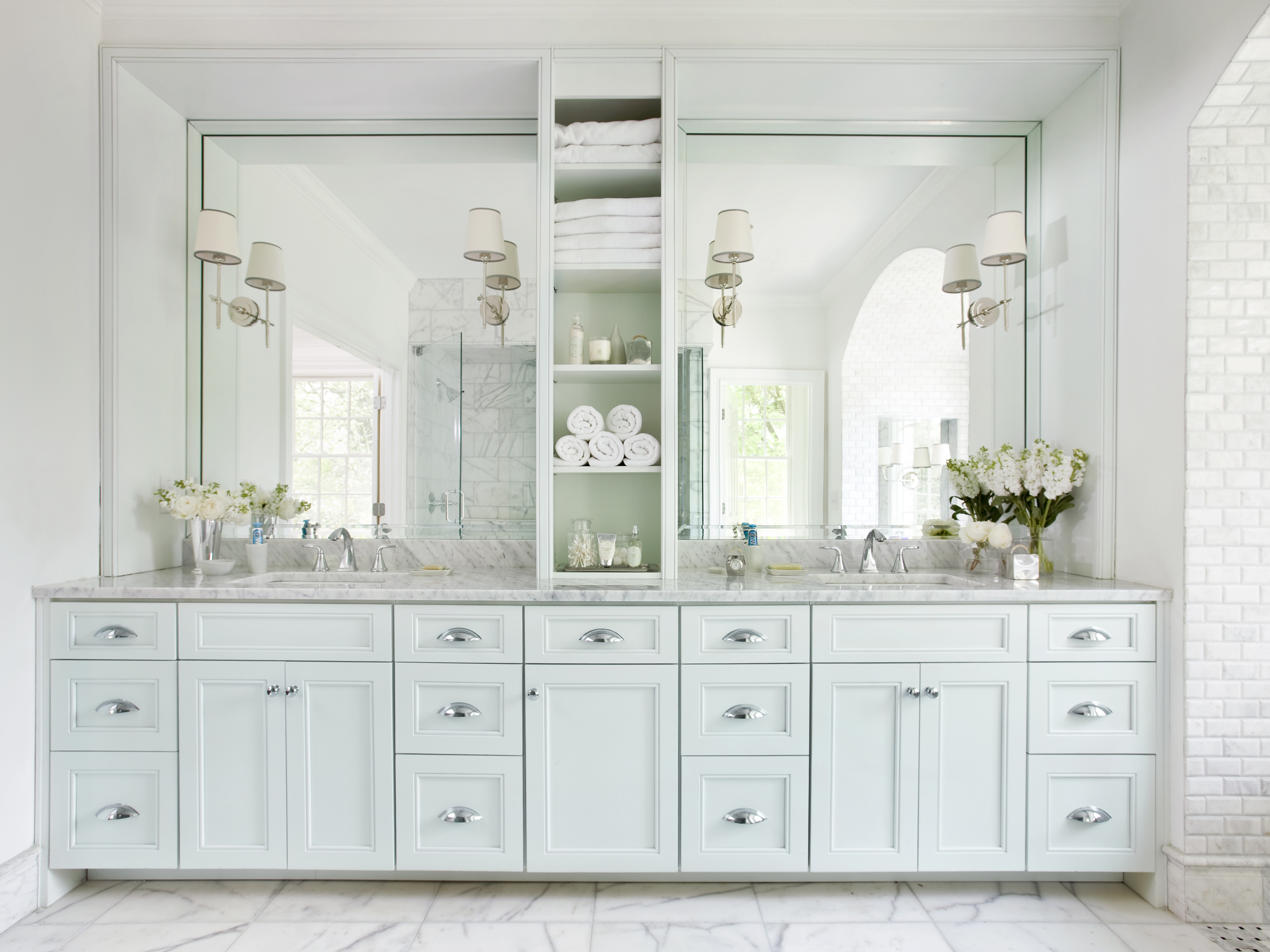 Classic Wooden Open Shelves Storage For Master Bathroom (View 3 of 20)