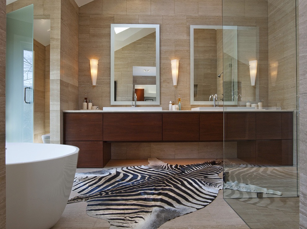 Contemporary Zebra Print Ebony Bathroom Area Rug (Image 5 of 15)