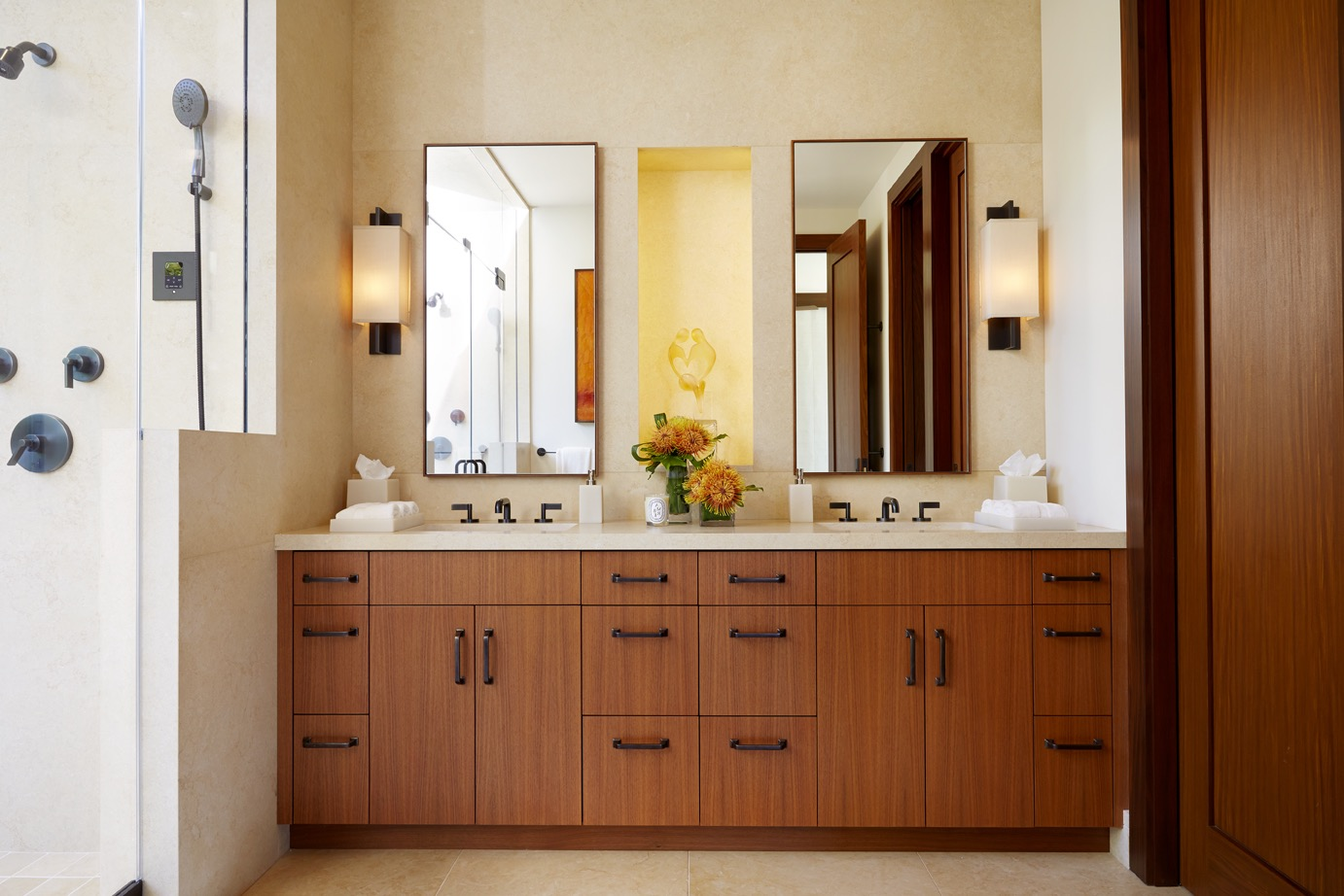 Contemporary Bathroom Double Vanity Features Ample Storage Space (Image 4 of 20)