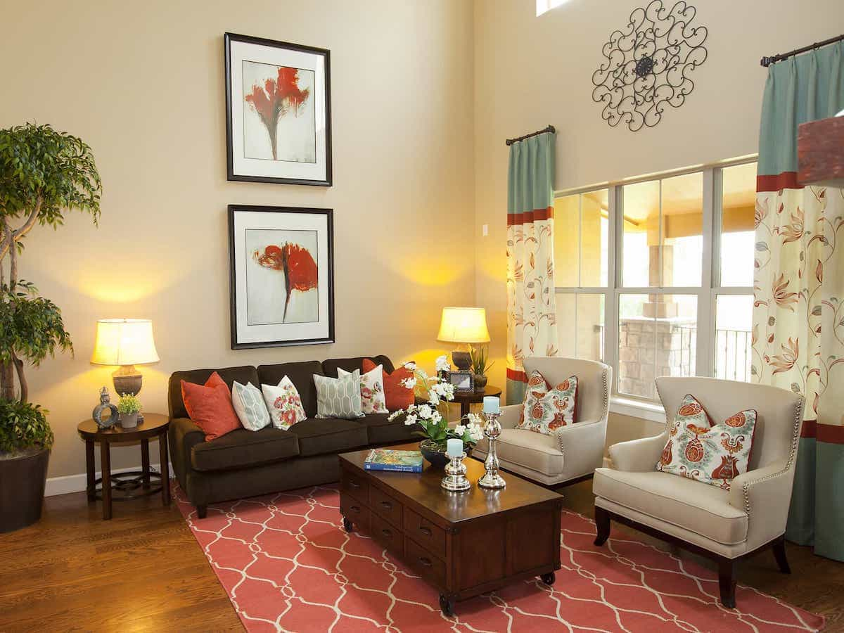 Coral Southwestern Rug With Graphic Print For Neutral Sitting Area With Rust And Blue Accents (Image 4 of 15)